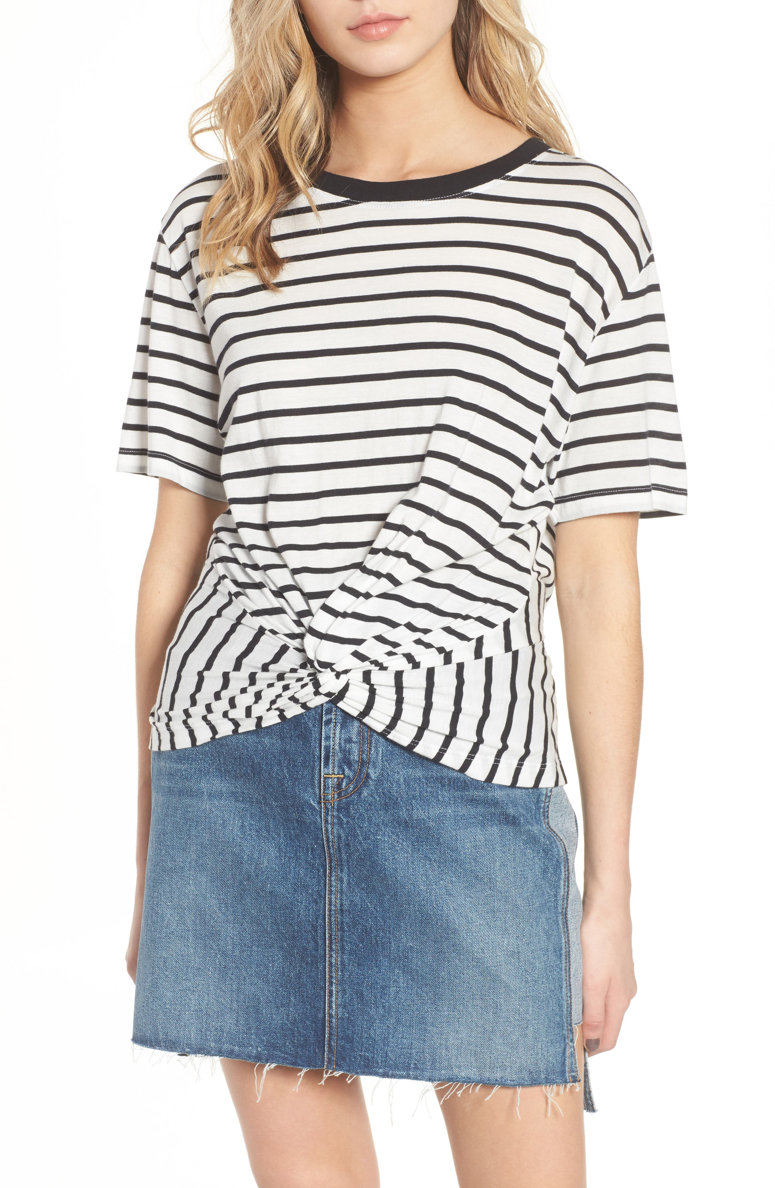 Stripe Knotted Tee,                         Main,                         color, Black/ White