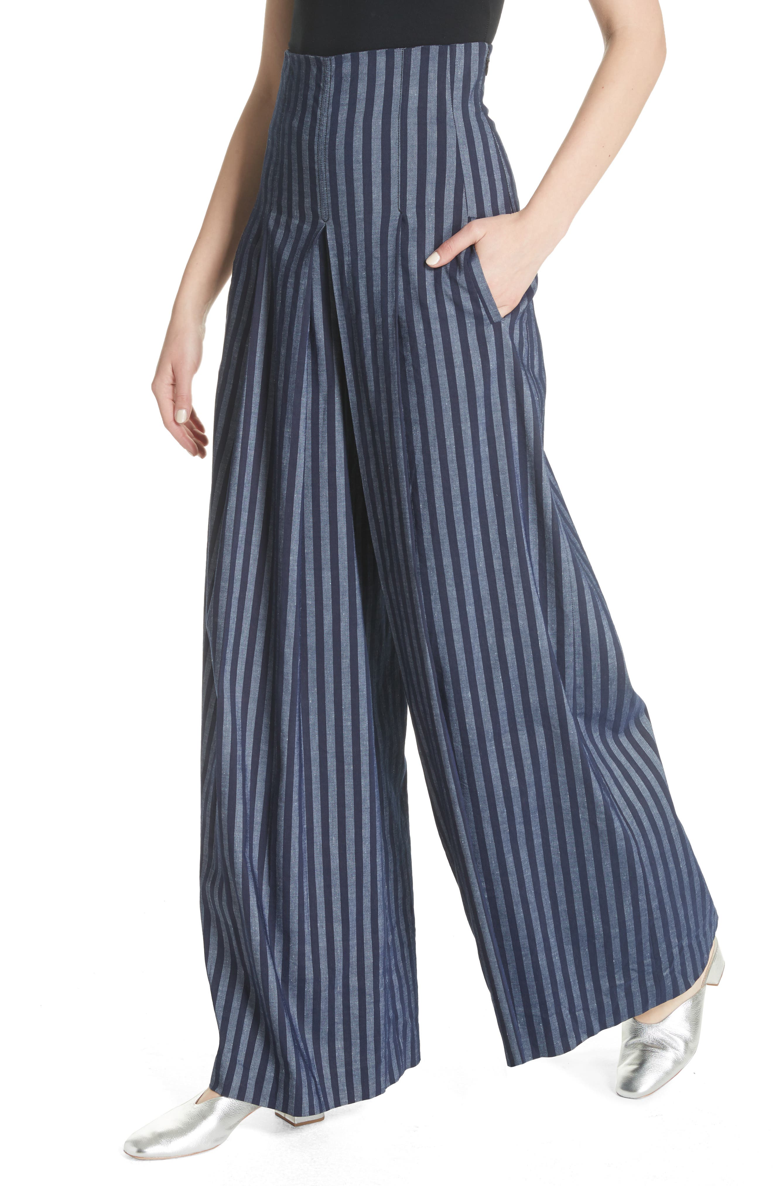 Stripe Wide Leg Pants,                             Alternate thumbnail 4, color,                             India Ink