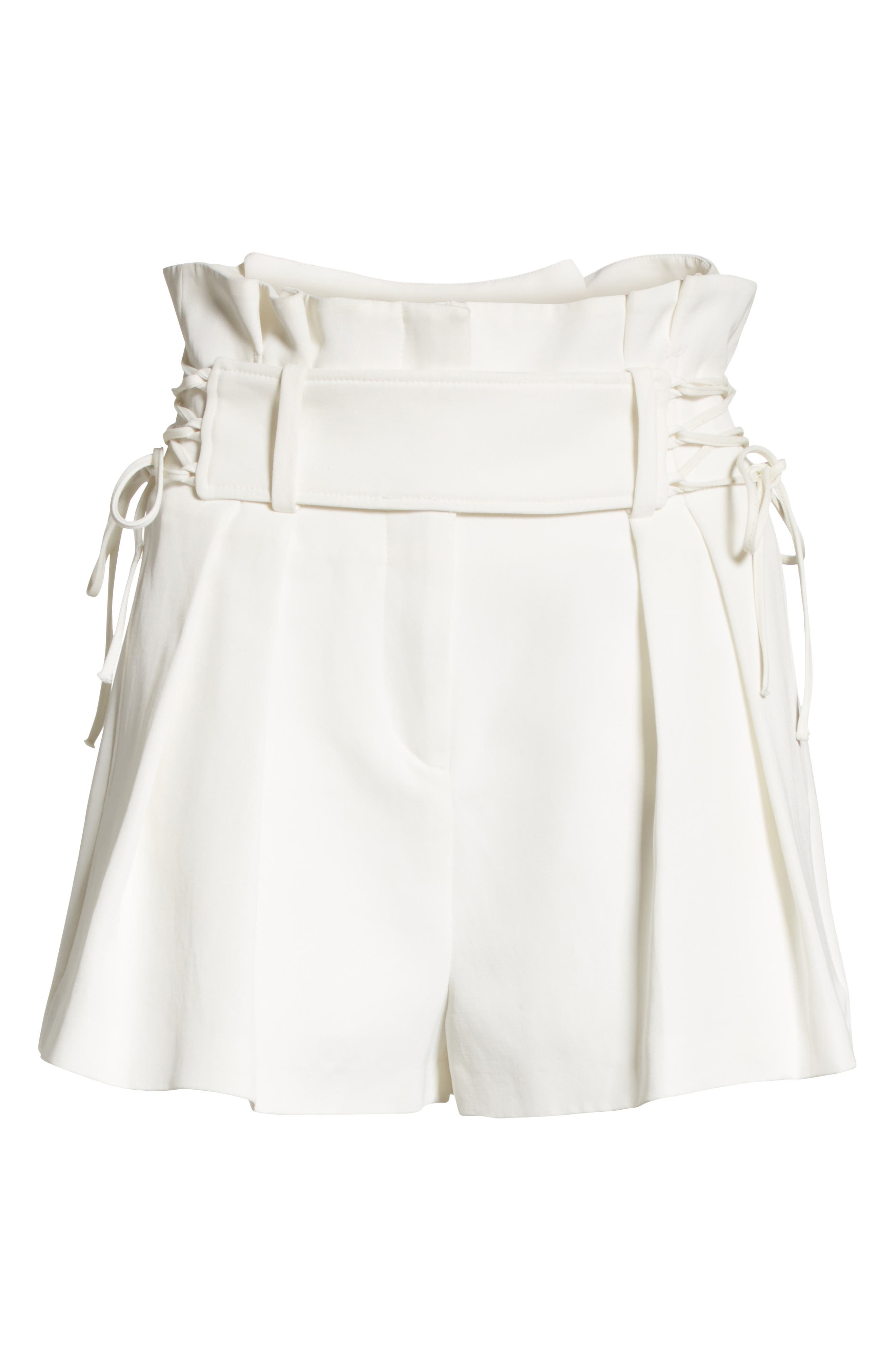 Lalora High Waist Lace-Up Shorts,                             Alternate thumbnail 6, color,                             White