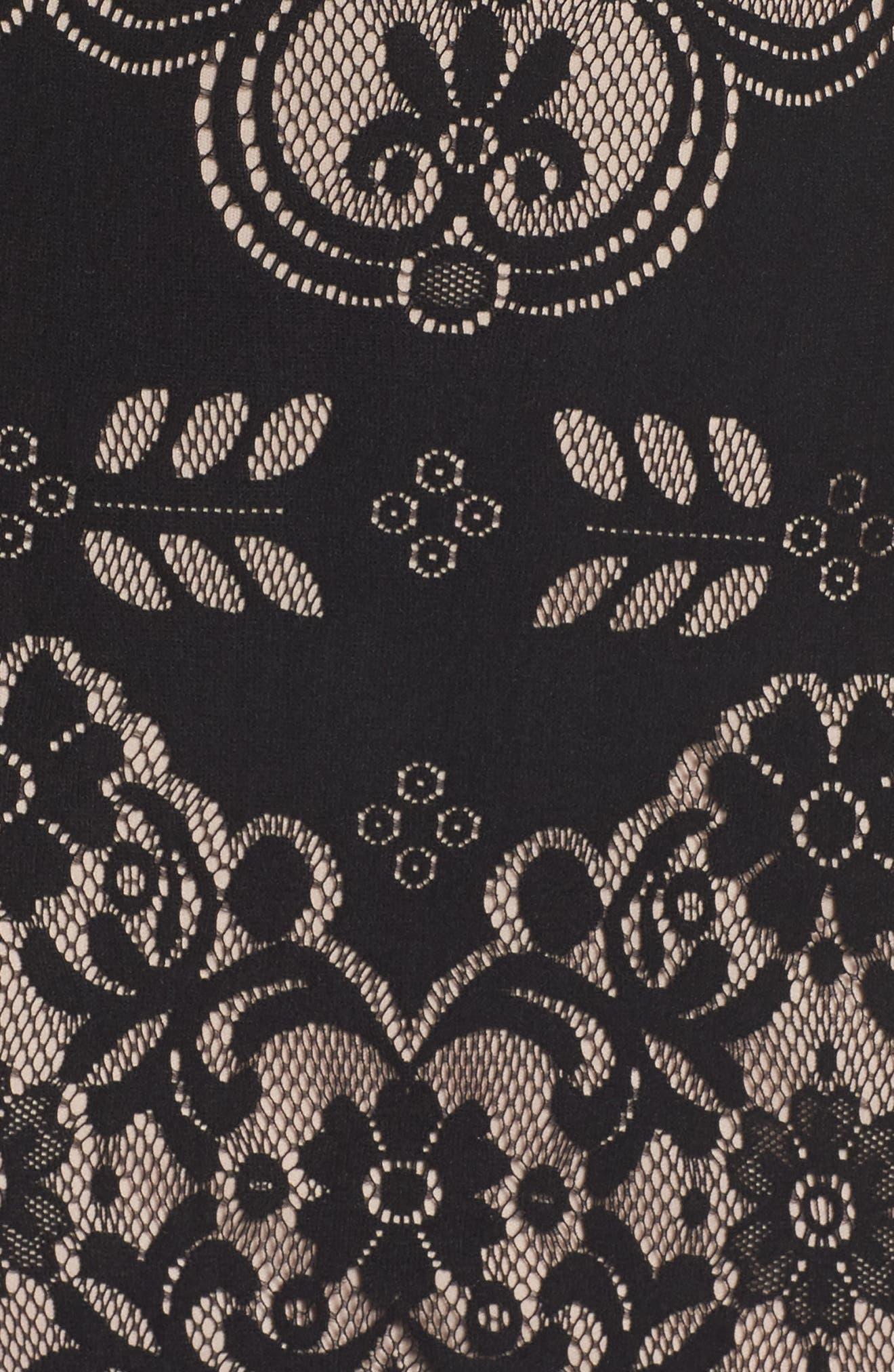 Lace V-Neck Gown,                             Alternate thumbnail 5, color,                             Black/ Nude