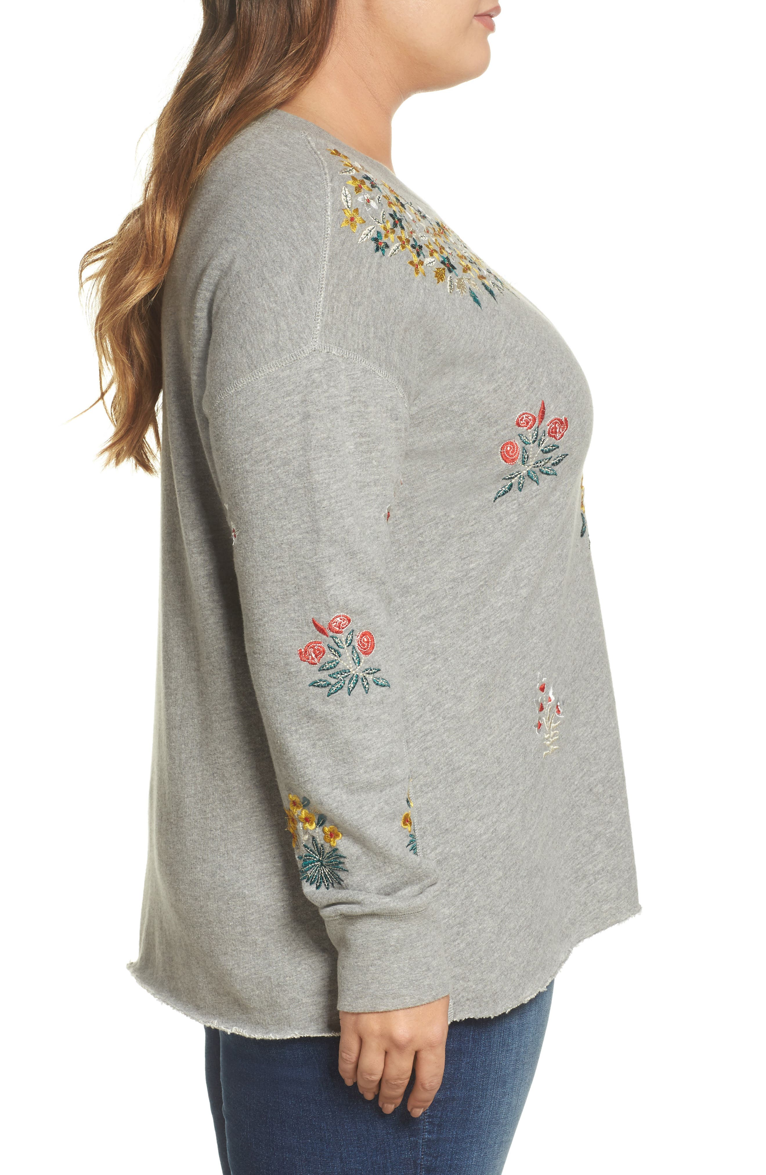 Embroidered Sweatshirt,                             Alternate thumbnail 3, color,                             Heather Grey