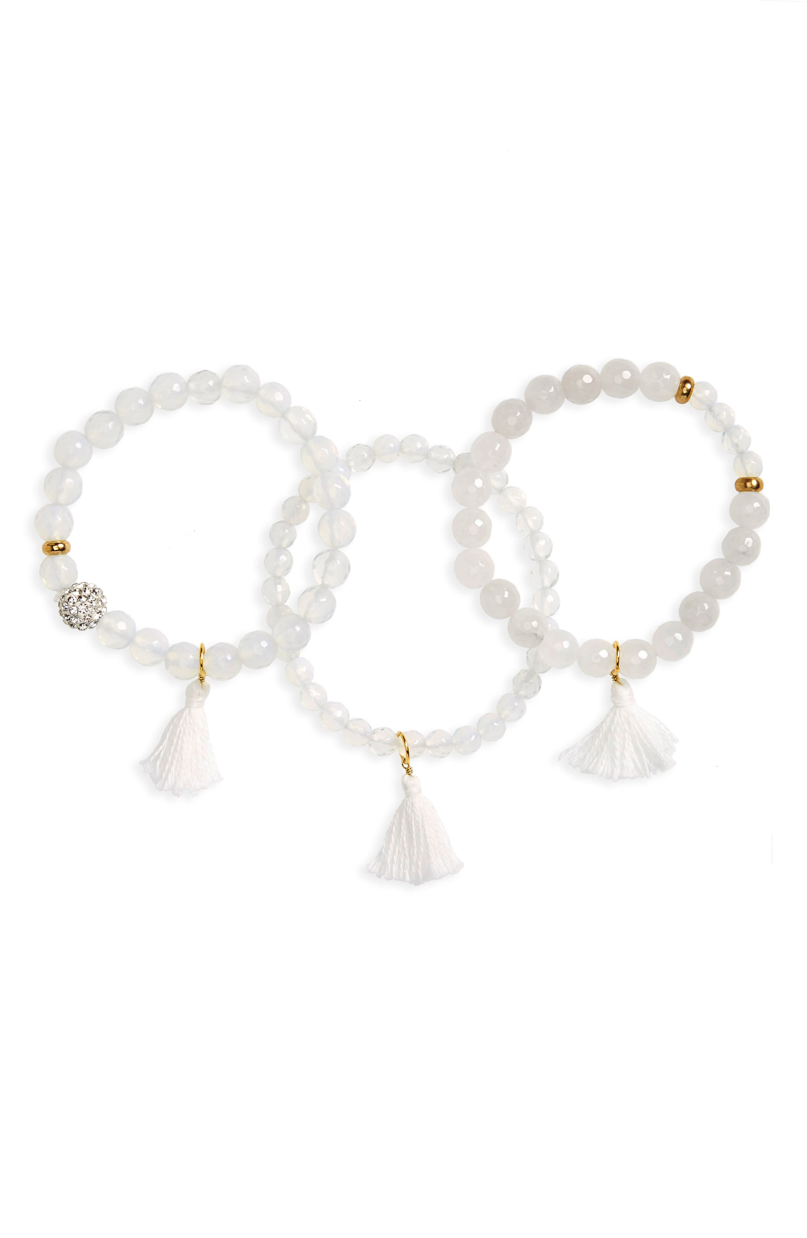 Set of 3 Beaded Stretch Bracelets,                         Main,                         color, White