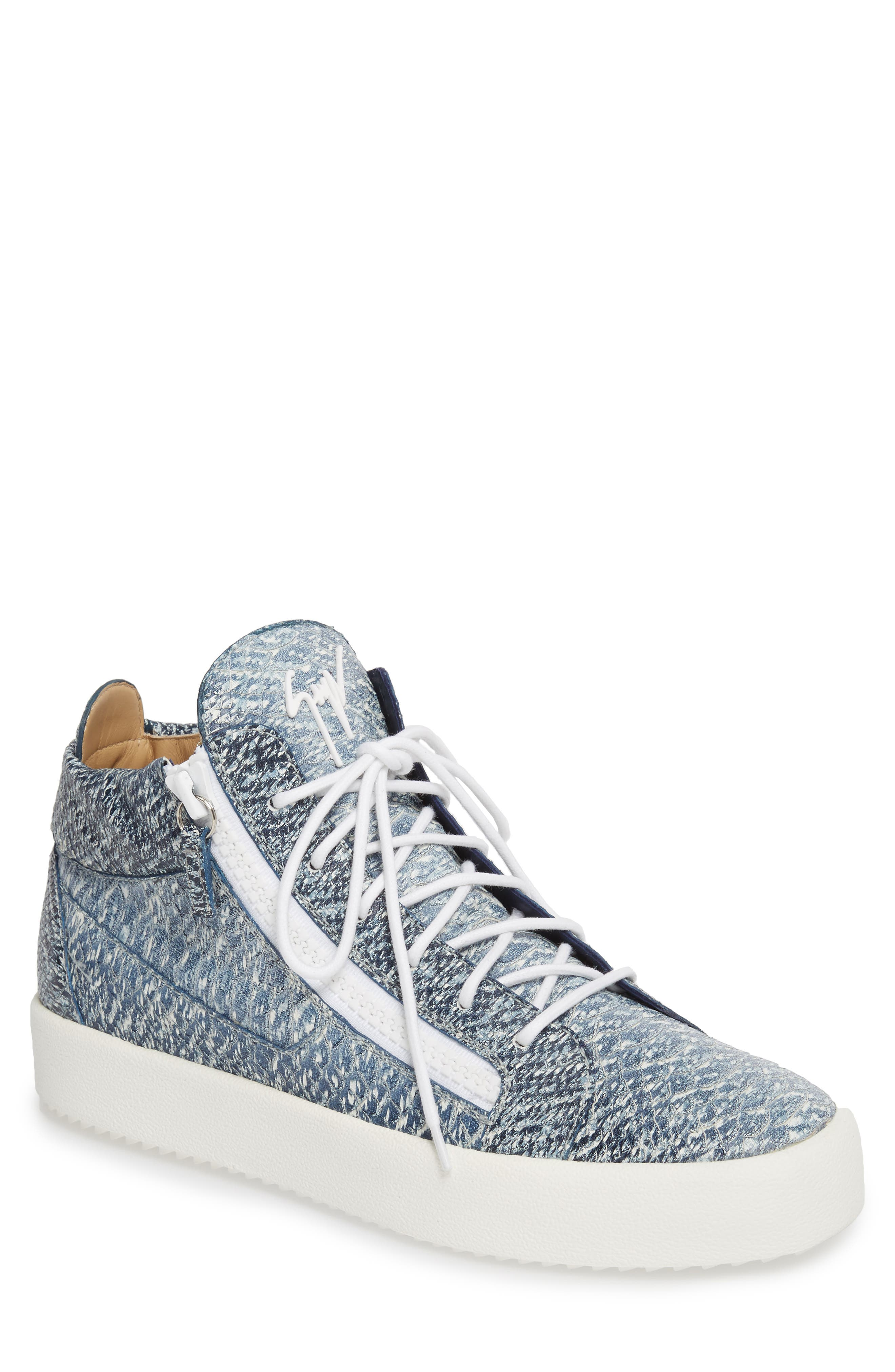 Snake Embossed Sneaker,                         Main,                         color, Denim Blue Snake