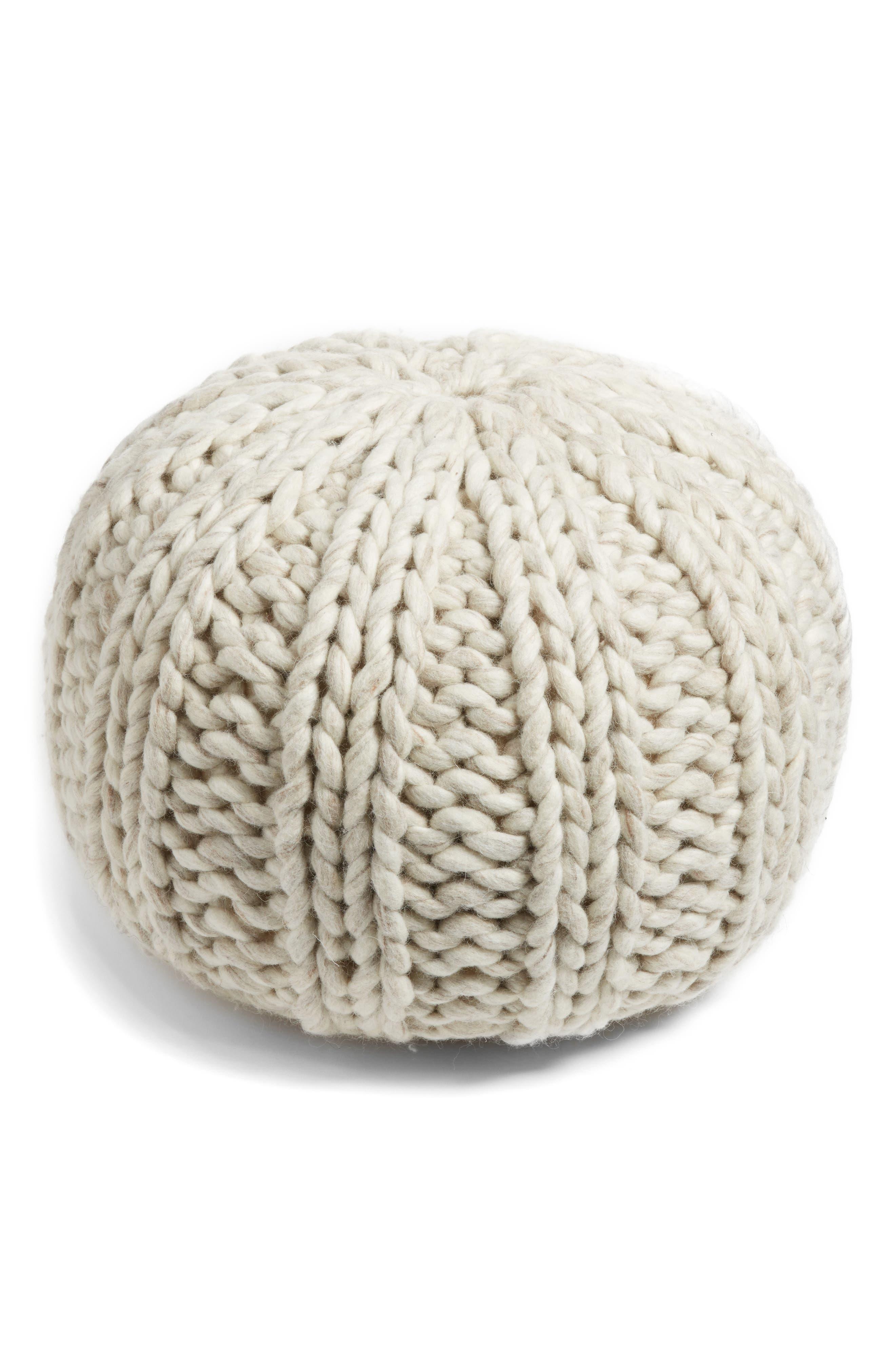 Chunky Knit Pouf,                         Main,                         color, Ivory