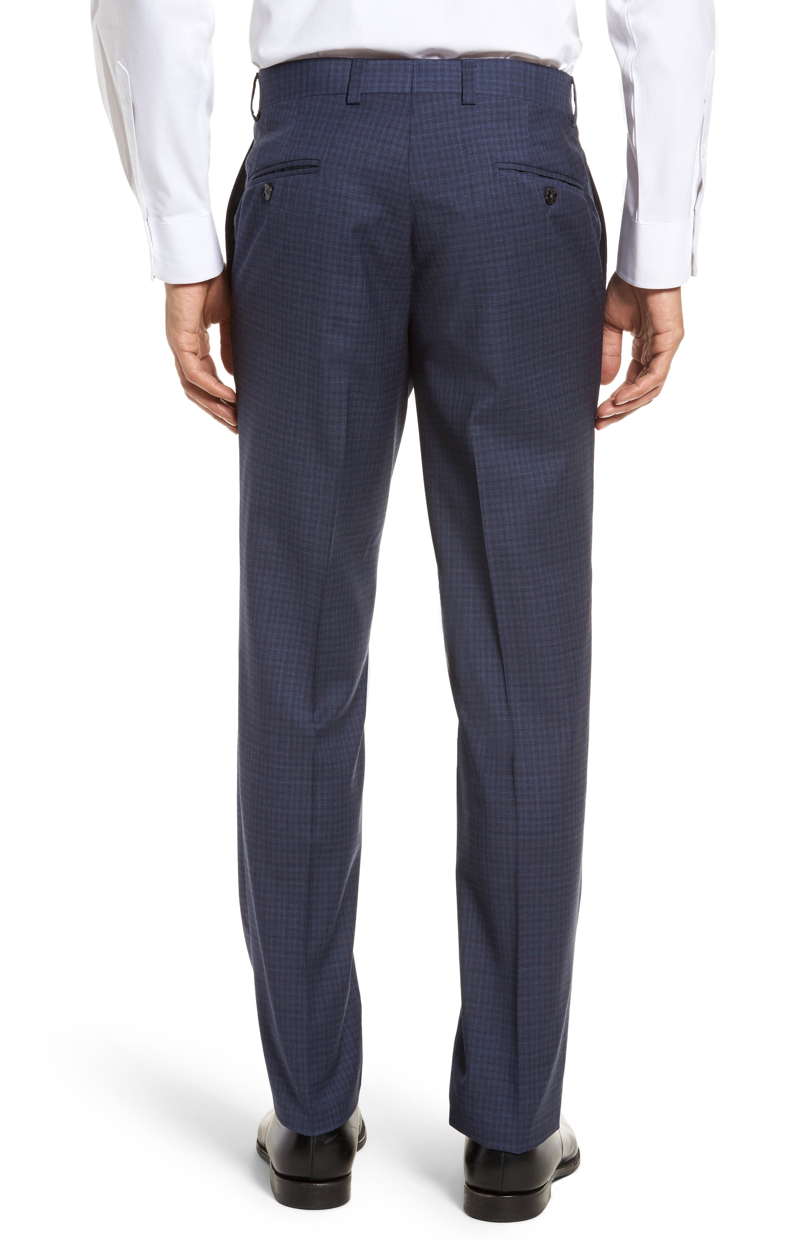 Jefferson Flat Front Check Wool Trousers,                             Alternate thumbnail 2, color,                             Blue