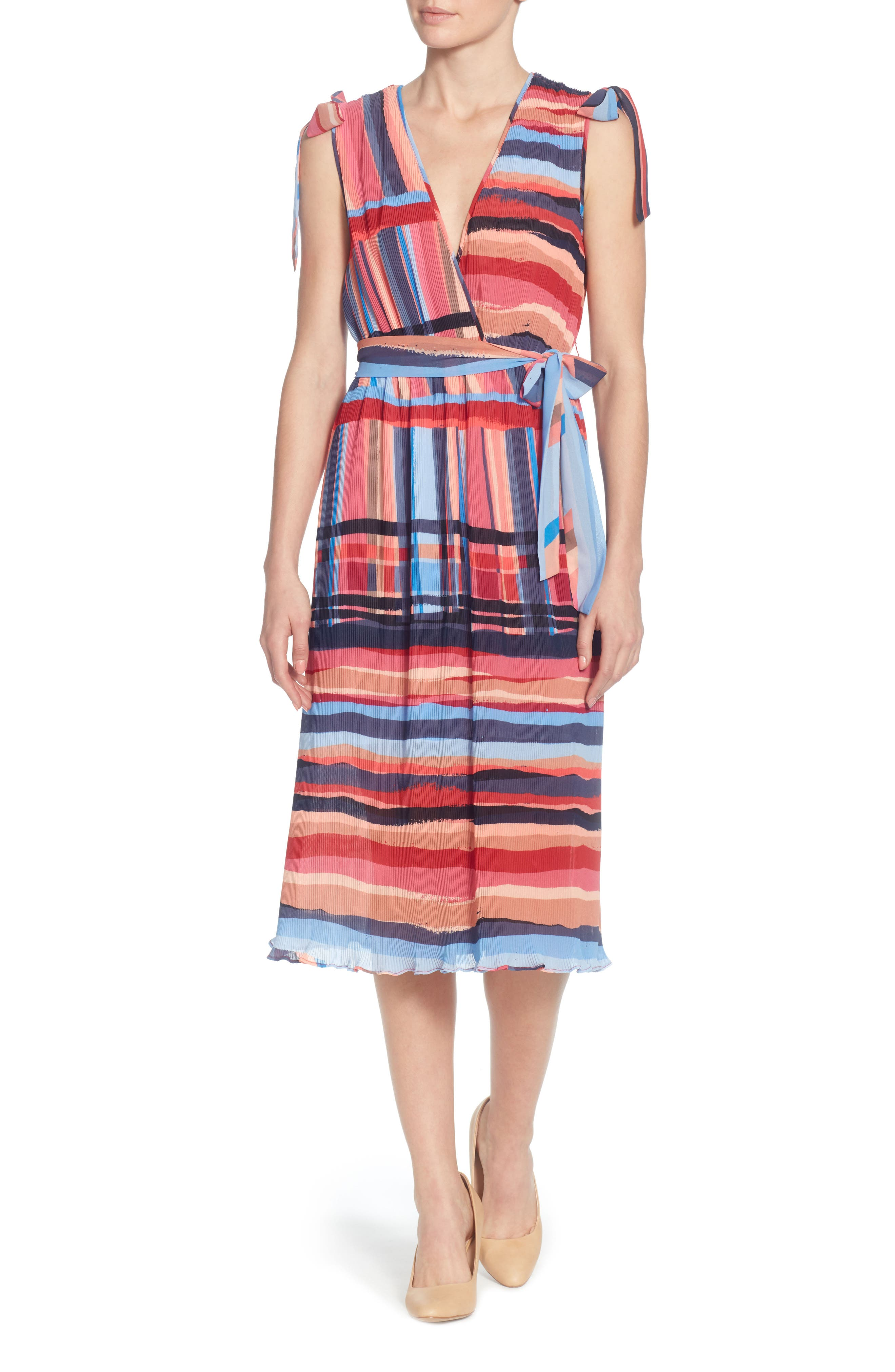 Micropleat Dress,                         Main,                         color, Washed Stripe