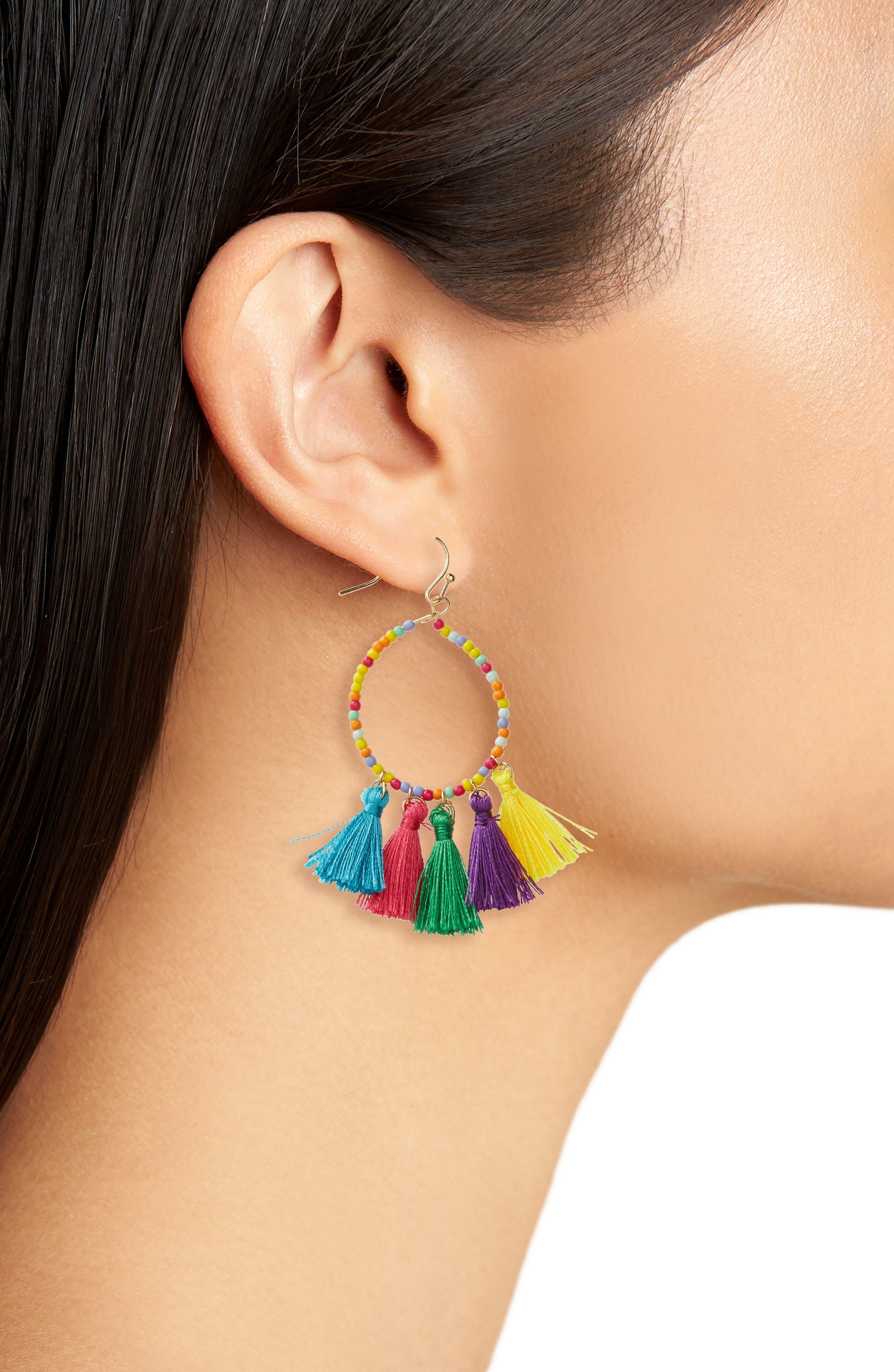 Beaded Hoop Earrings,                             Alternate thumbnail 2, color,                             Yellow Multi