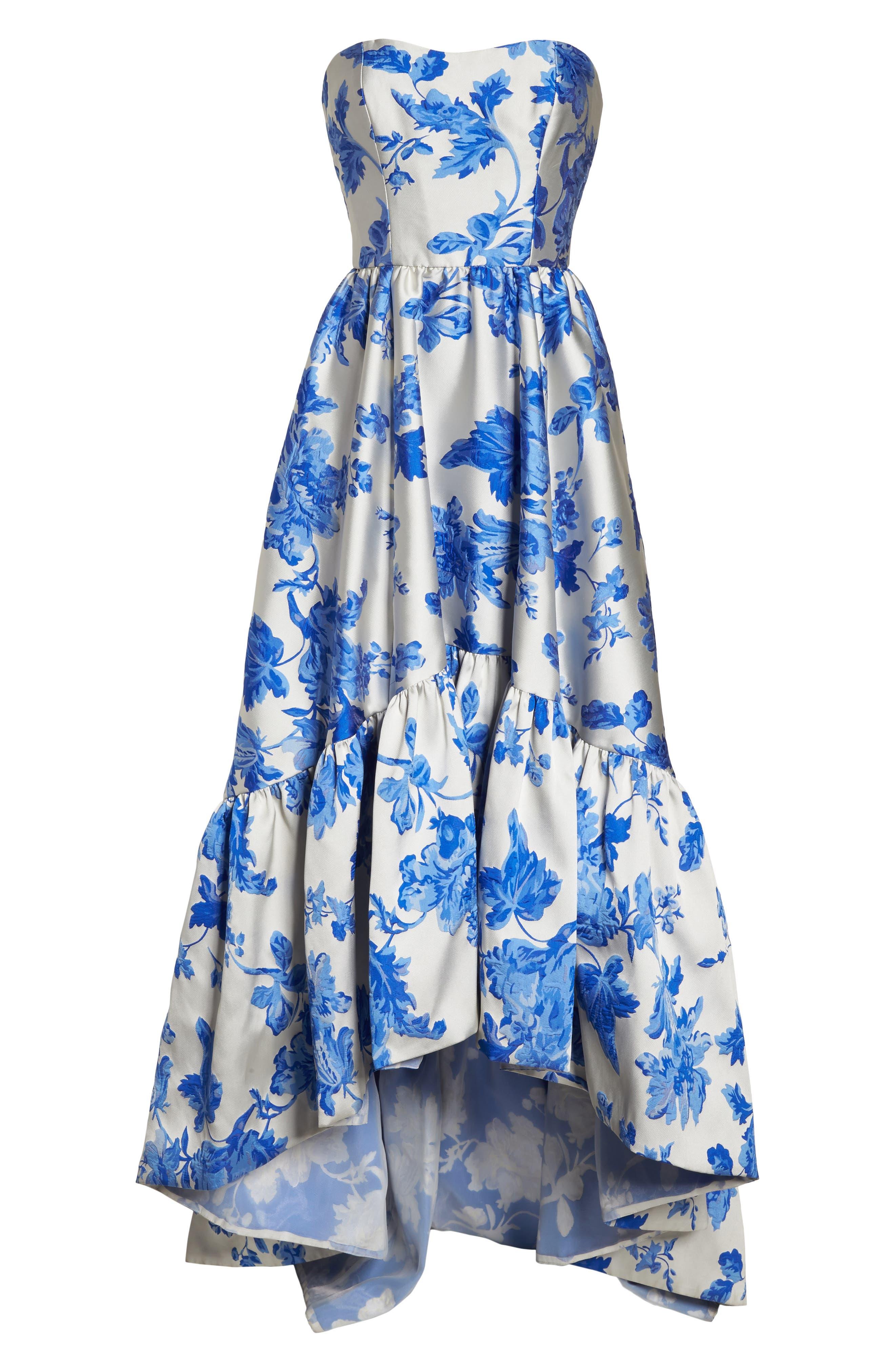 Mestiza Georgiana Floral High/Low Strapless Gown,                             Alternate thumbnail 6, color,                             Porcelain Blue