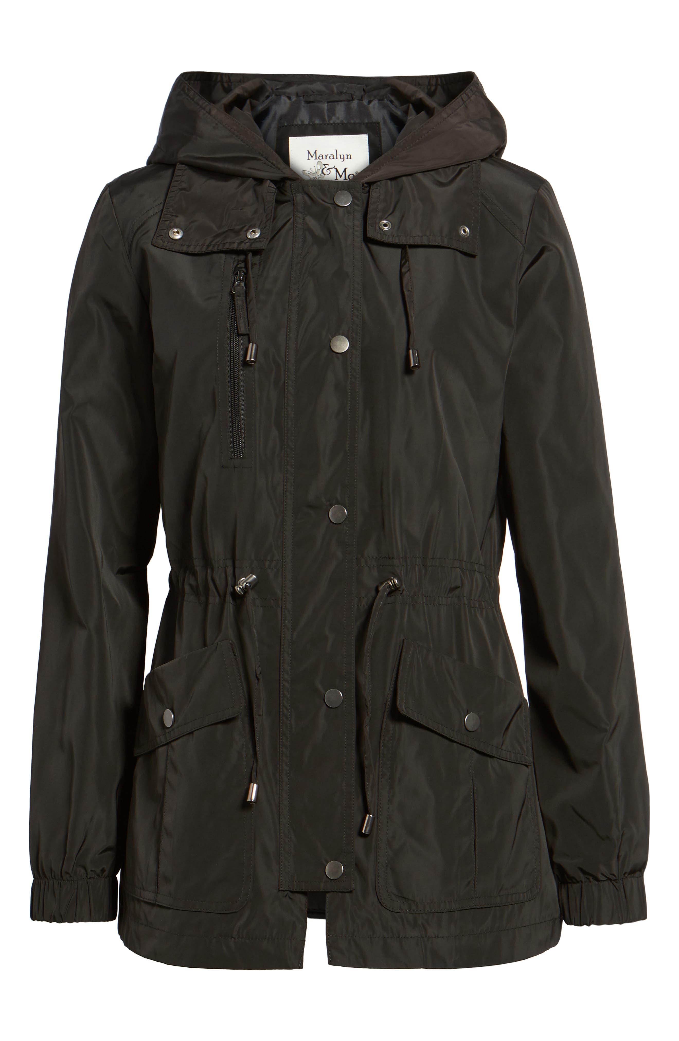 Rain Jacket,                             Alternate thumbnail 8, color,                             Black