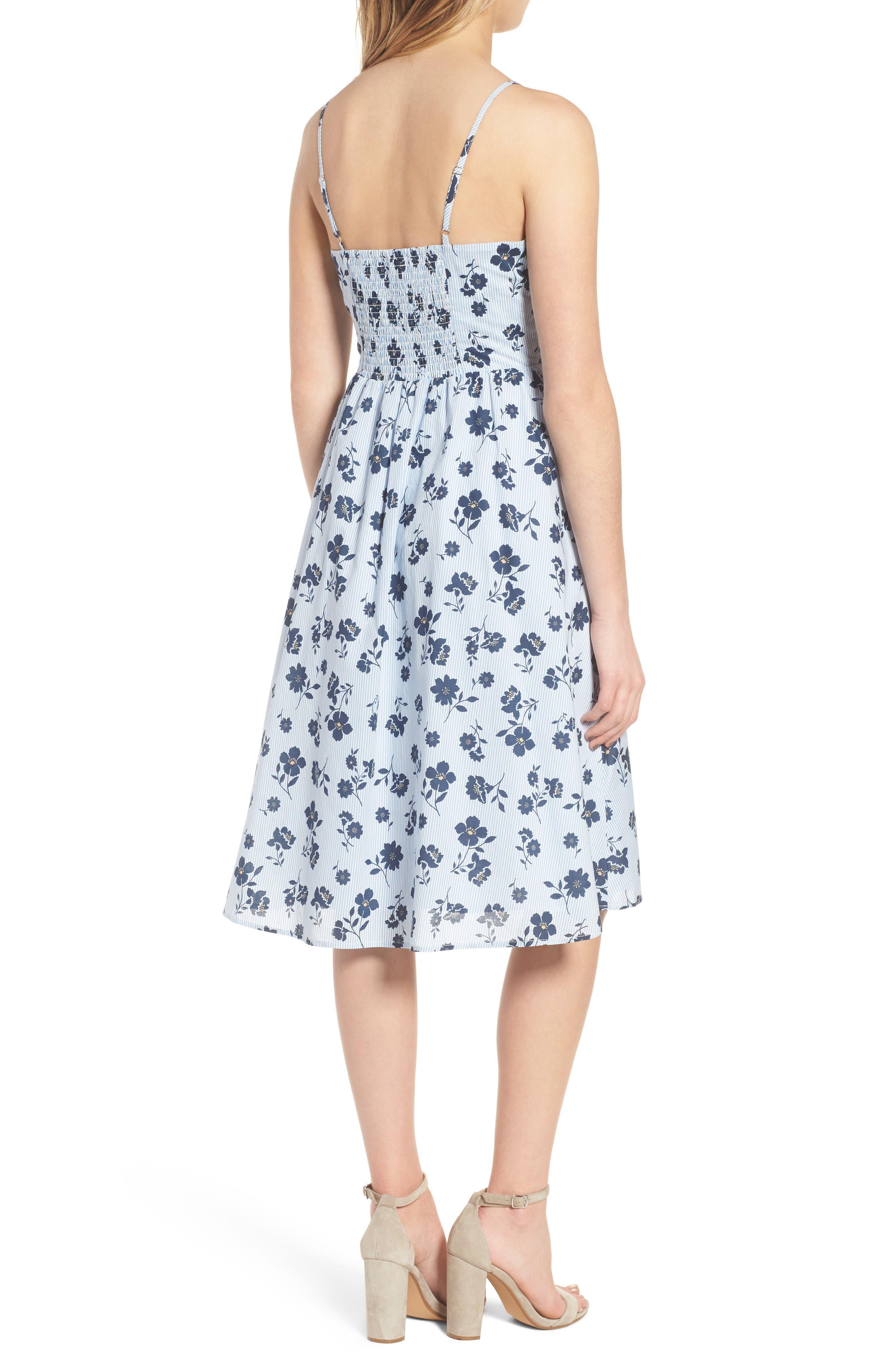 Floral Cotton Fit & Flare Dress,                             Alternate thumbnail 3, color,                             Sky Stripe