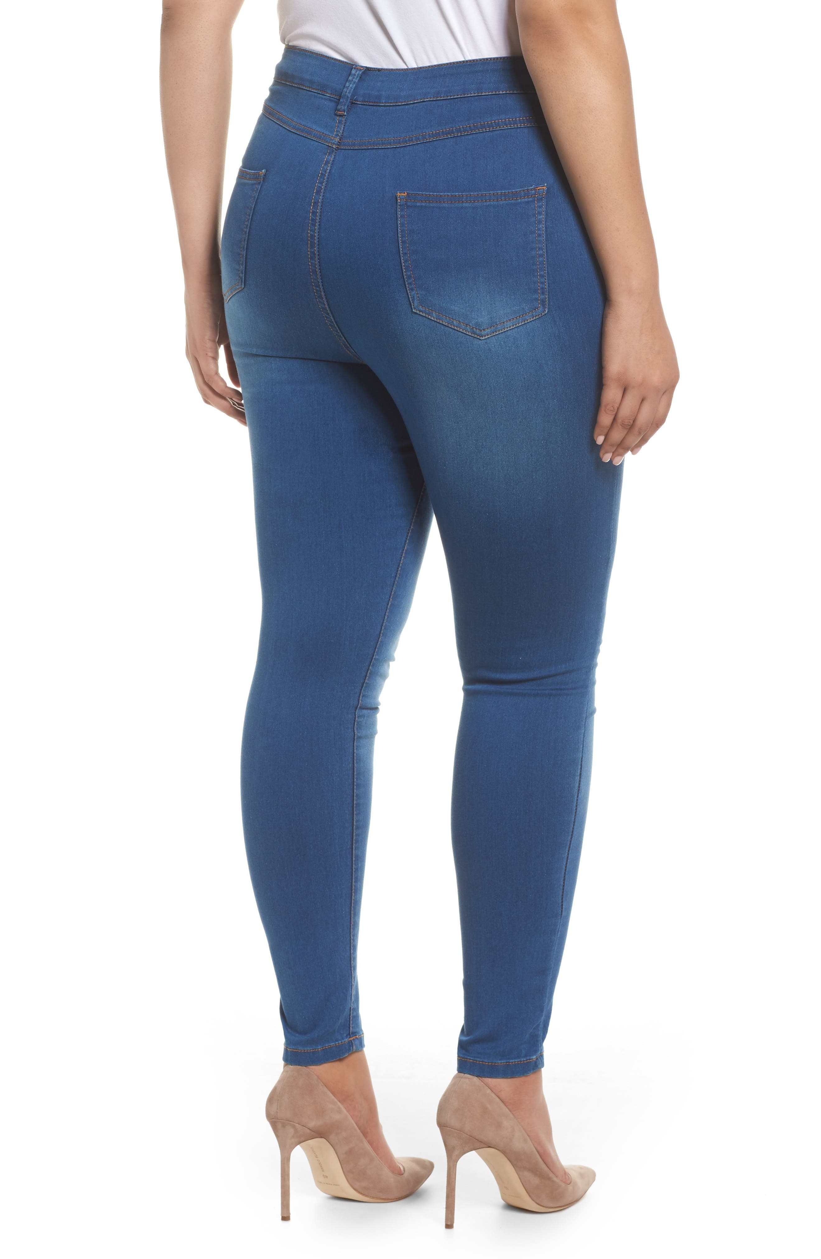 Alternate Image 2  - Evans Skinny Stretch Jeans (Mid Wash) (Plus Size)