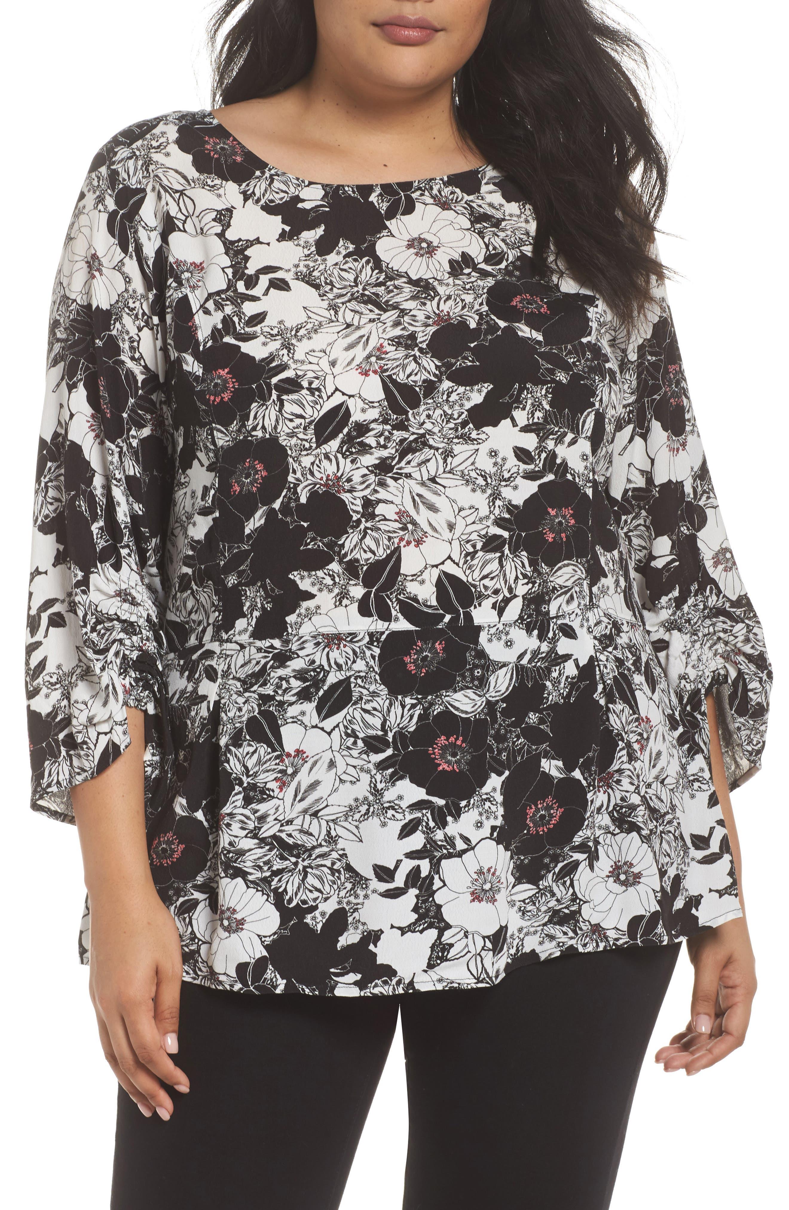 Smocked Sleeve Top,                         Main,                         color, Black- Ivory Cloud Florals