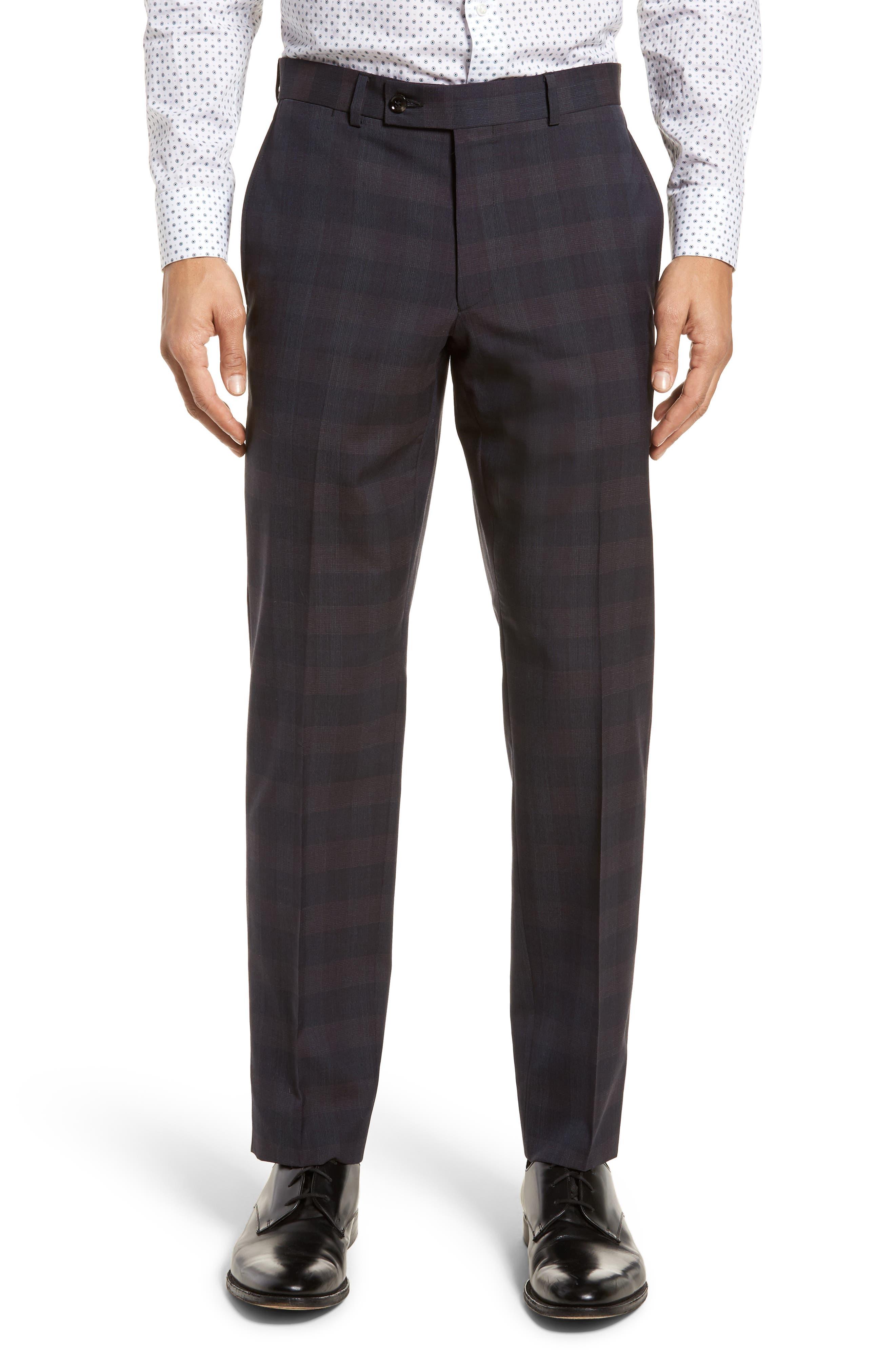 Jay Trim Fit Plaid Wool Suit,                             Alternate thumbnail 7, color,                             Black