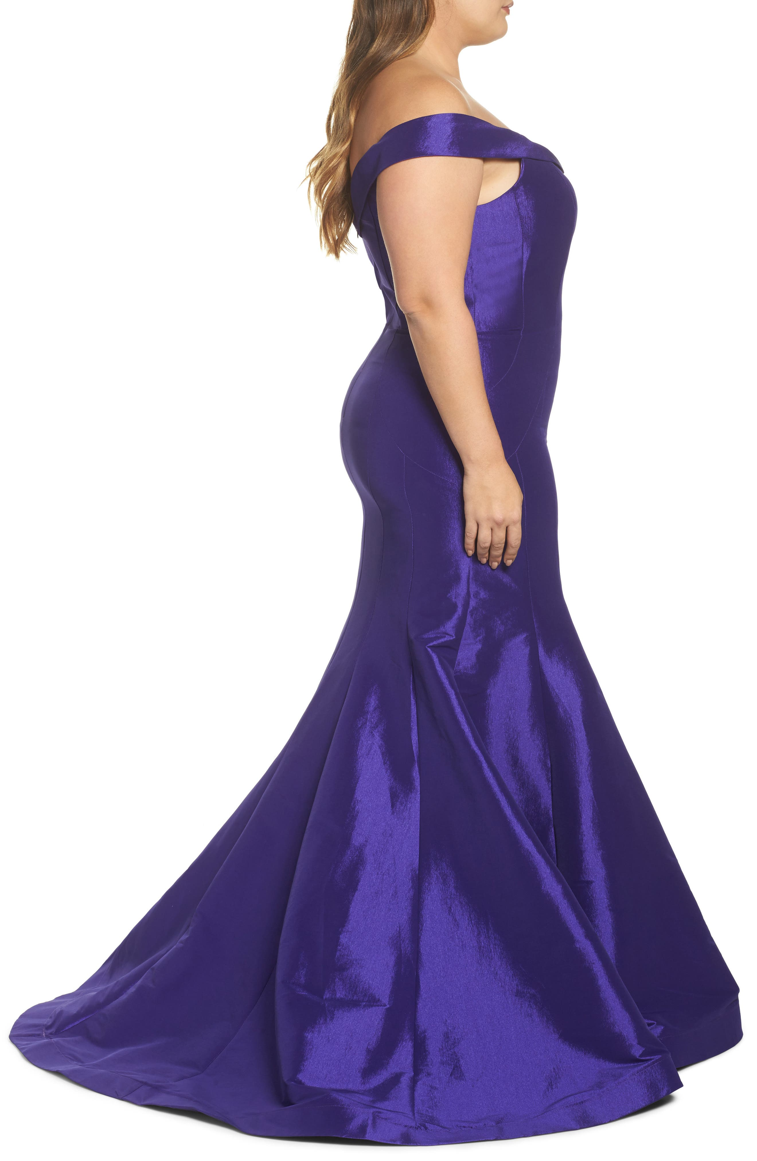 Off the Shoulder Mermaid Gown,                             Alternate thumbnail 3, color,                             Royal/ Purple