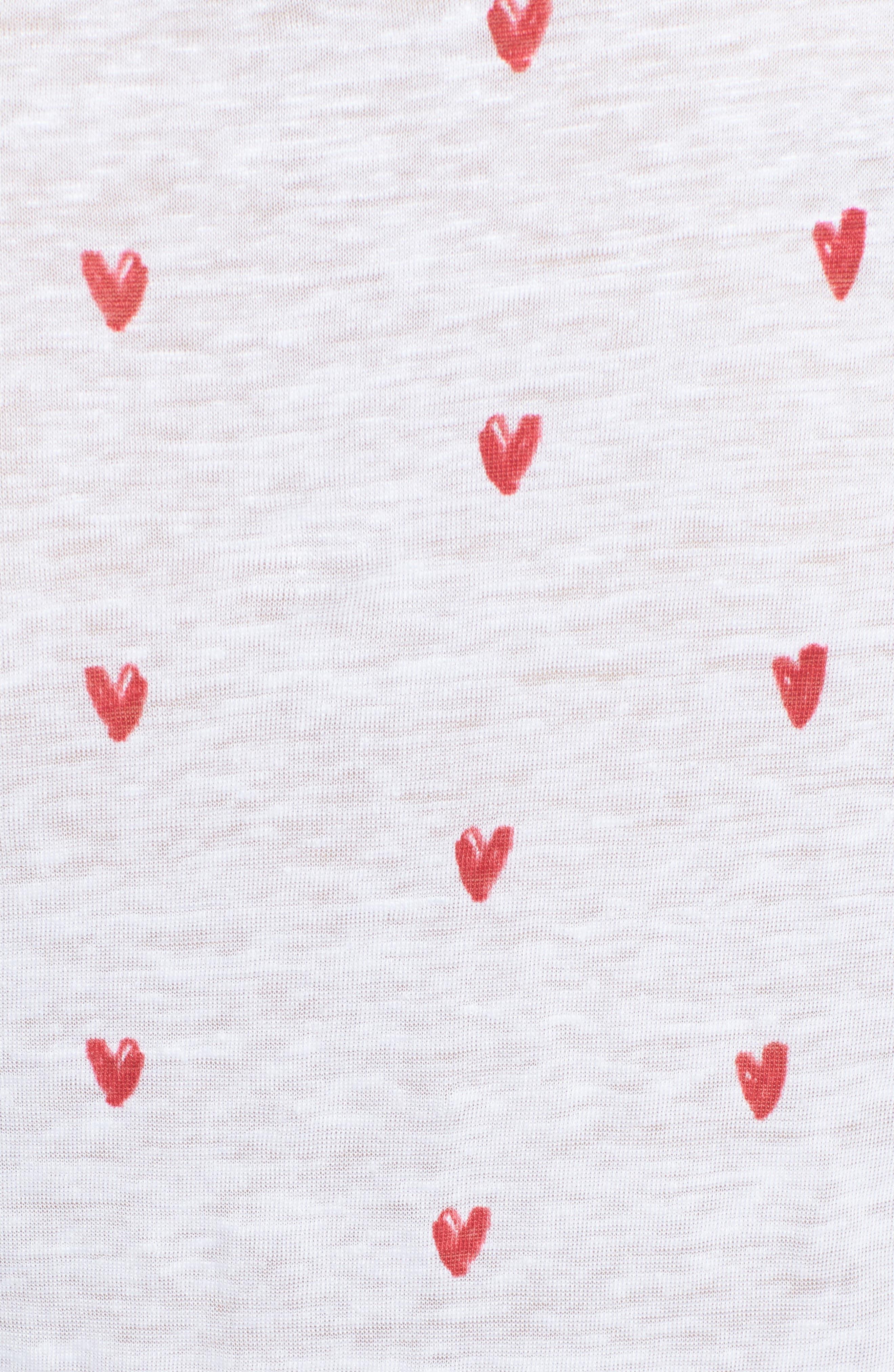 Cara Heart Tee,                             Alternate thumbnail 5, color,                             Lipstick Hearts