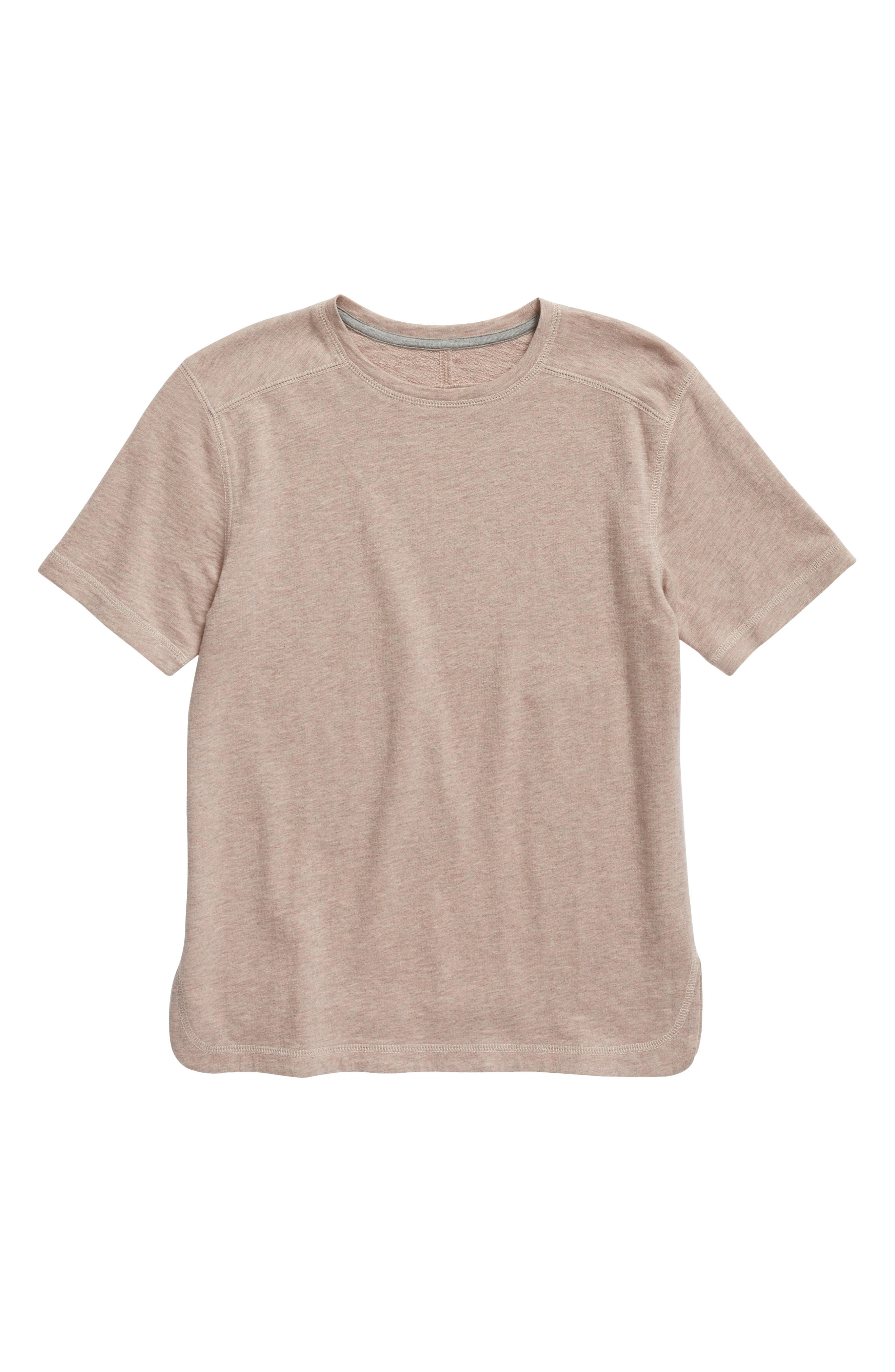French Terry T-Shirt,                         Main,                         color, Pink Adobe Heather