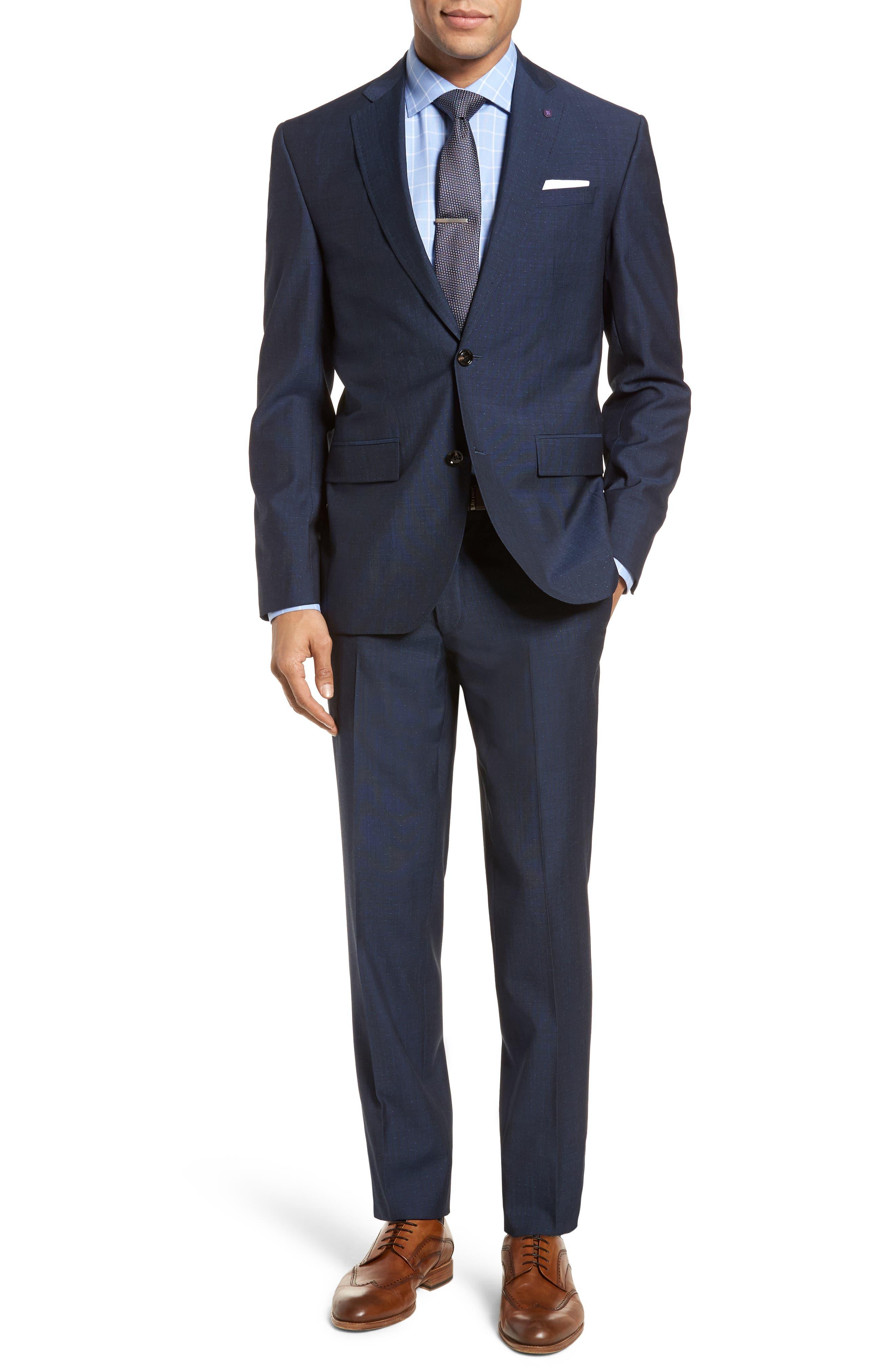 Roger Extra Slim Fit Dot Wool Suit,                         Main,                         color, Dark Blue