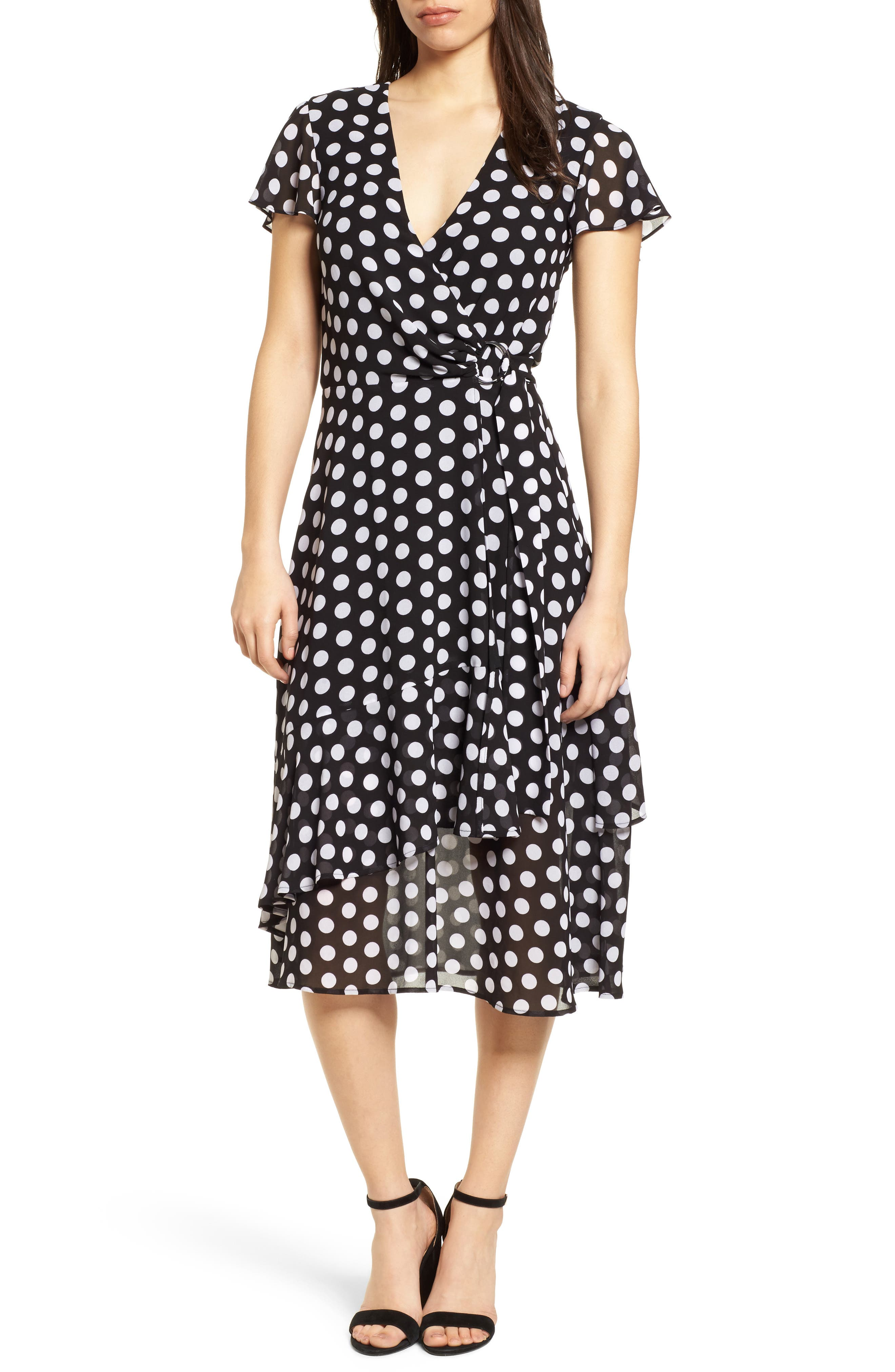 Simple Dot Wrap Dress,                             Main thumbnail 1, color,                             Black/ White