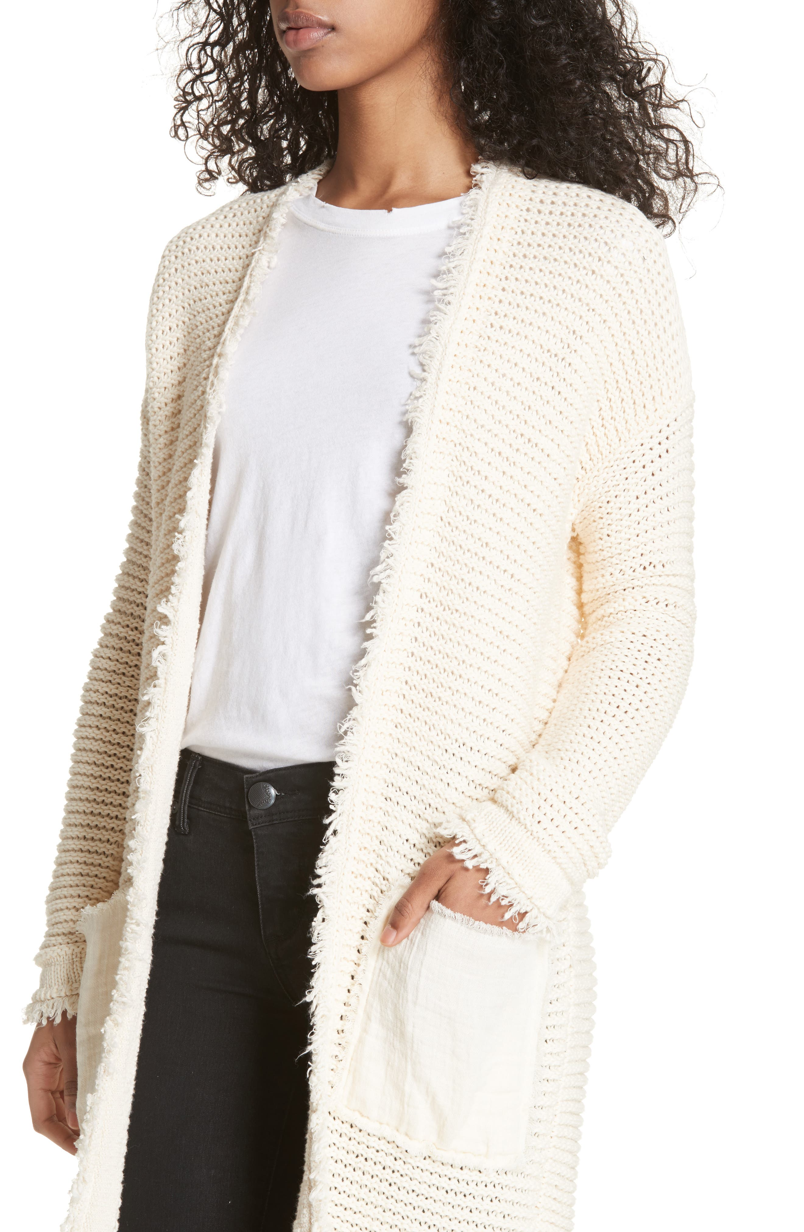 Woodstock Longline Cardigan,                             Alternate thumbnail 4, color,                             Ivory