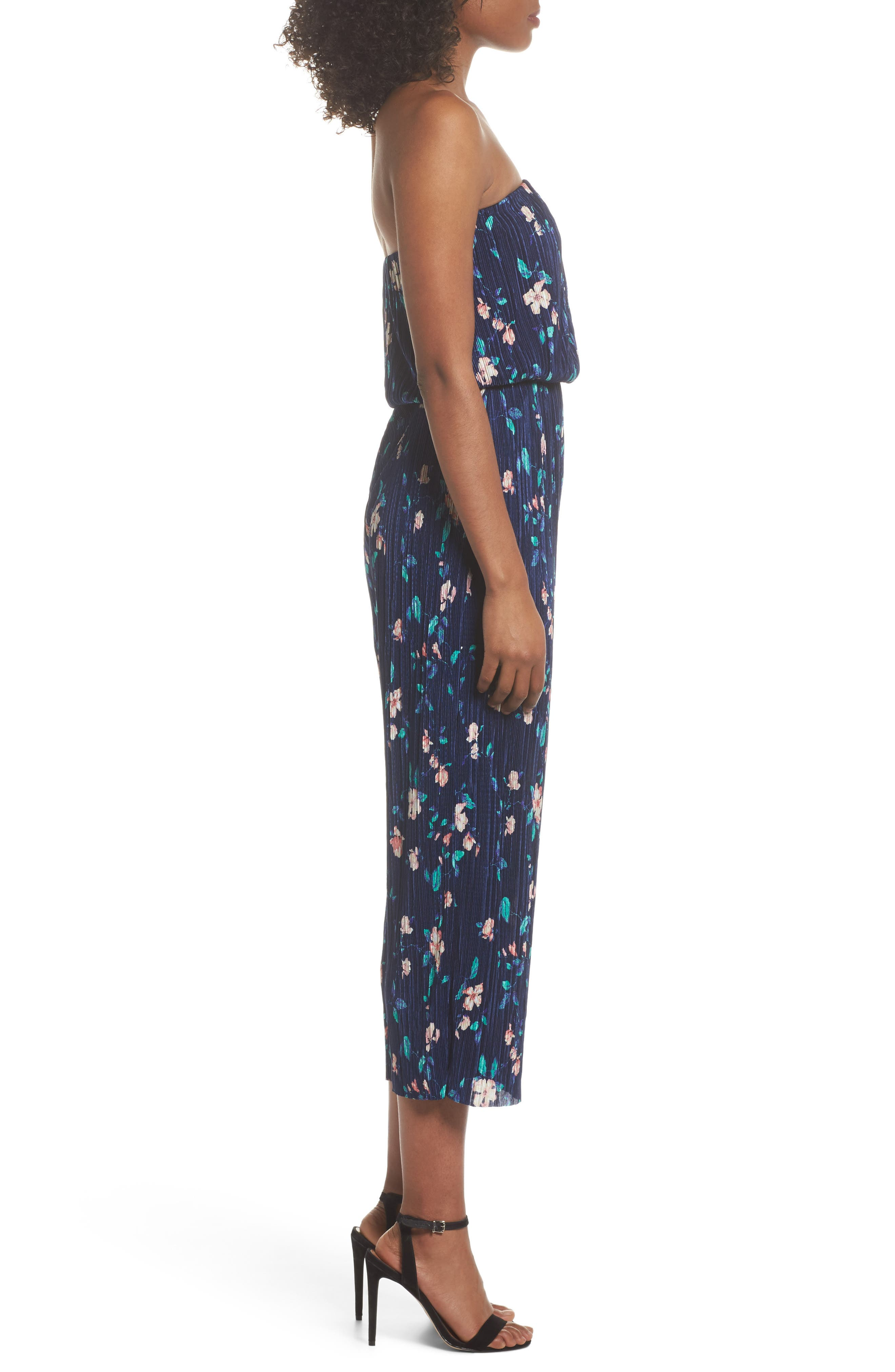 Strapless Culotte Jumpsuit,                             Alternate thumbnail 3, color,                             Navy/ Pink