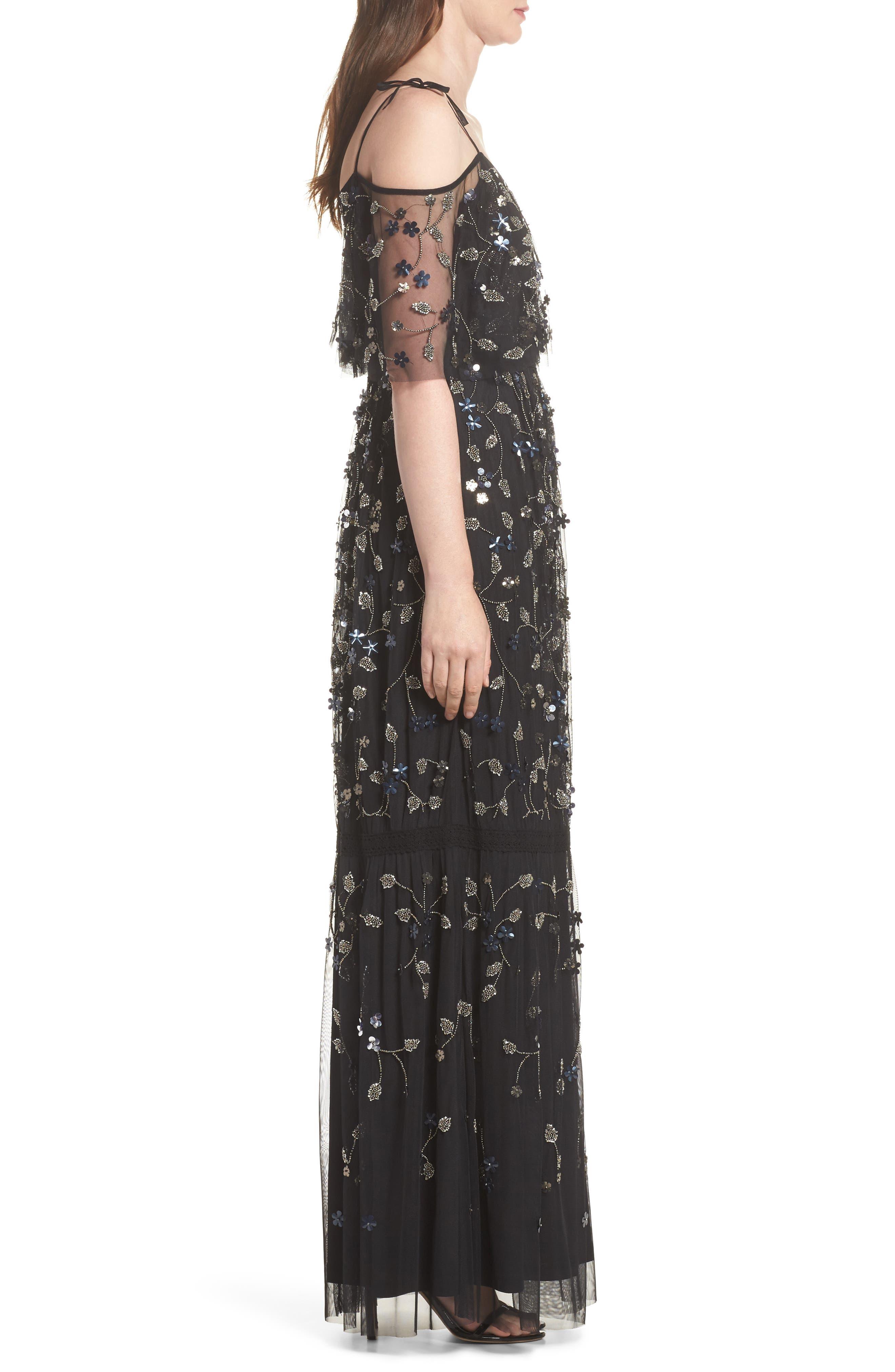Beaded Cold Shoulder Gown,                             Alternate thumbnail 3, color,                             Black Multi