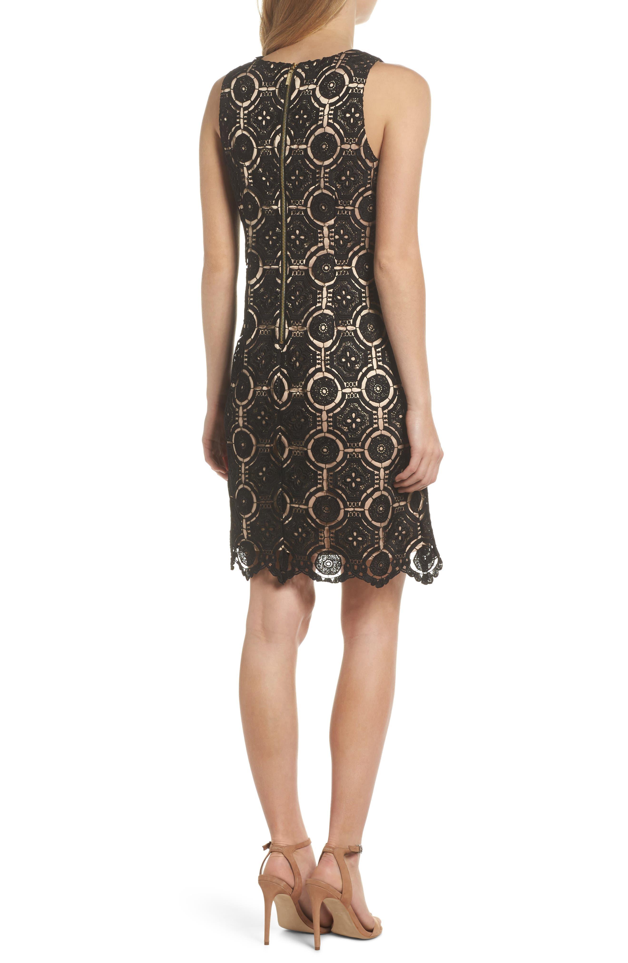 Lace Shift Dress,                             Alternate thumbnail 2, color,                             Black