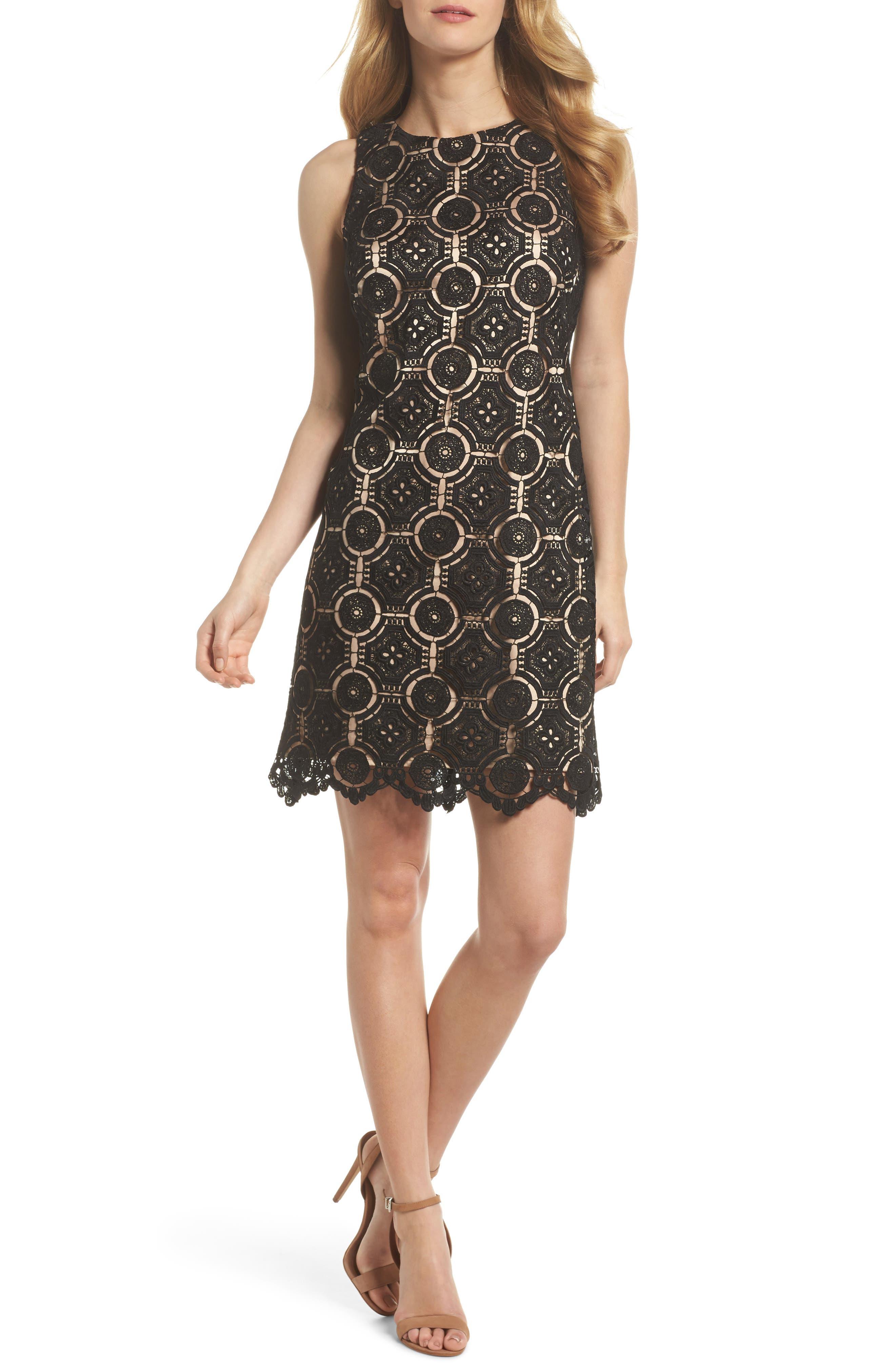 Lace Shift Dress,                             Main thumbnail 1, color,                             Black