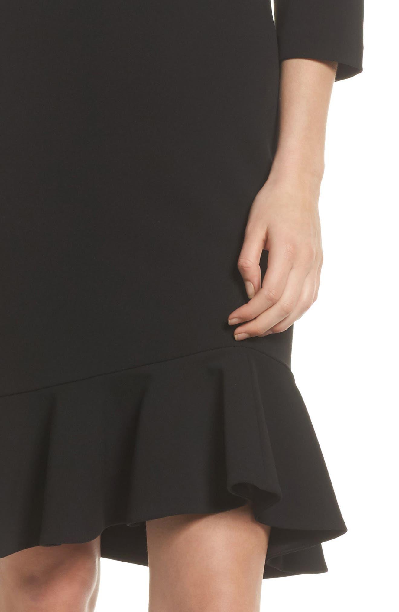Crepe Ruffle Hem Body-Con Dress,                             Alternate thumbnail 4, color,                             Black