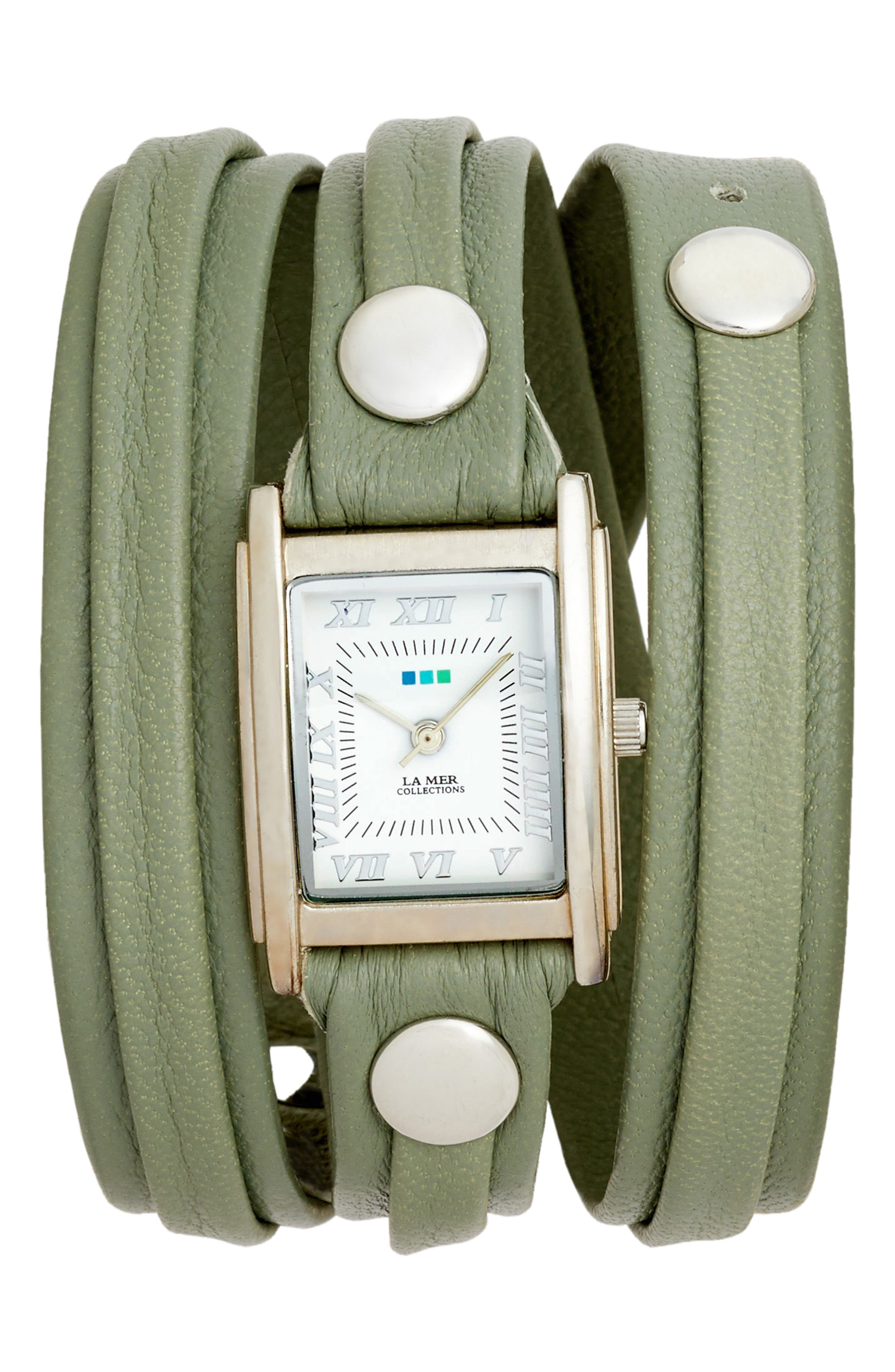 Saturn Leather Strap Wrap Watch, 25mm,                             Main thumbnail 1, color,                             Sage/ White/ Silver