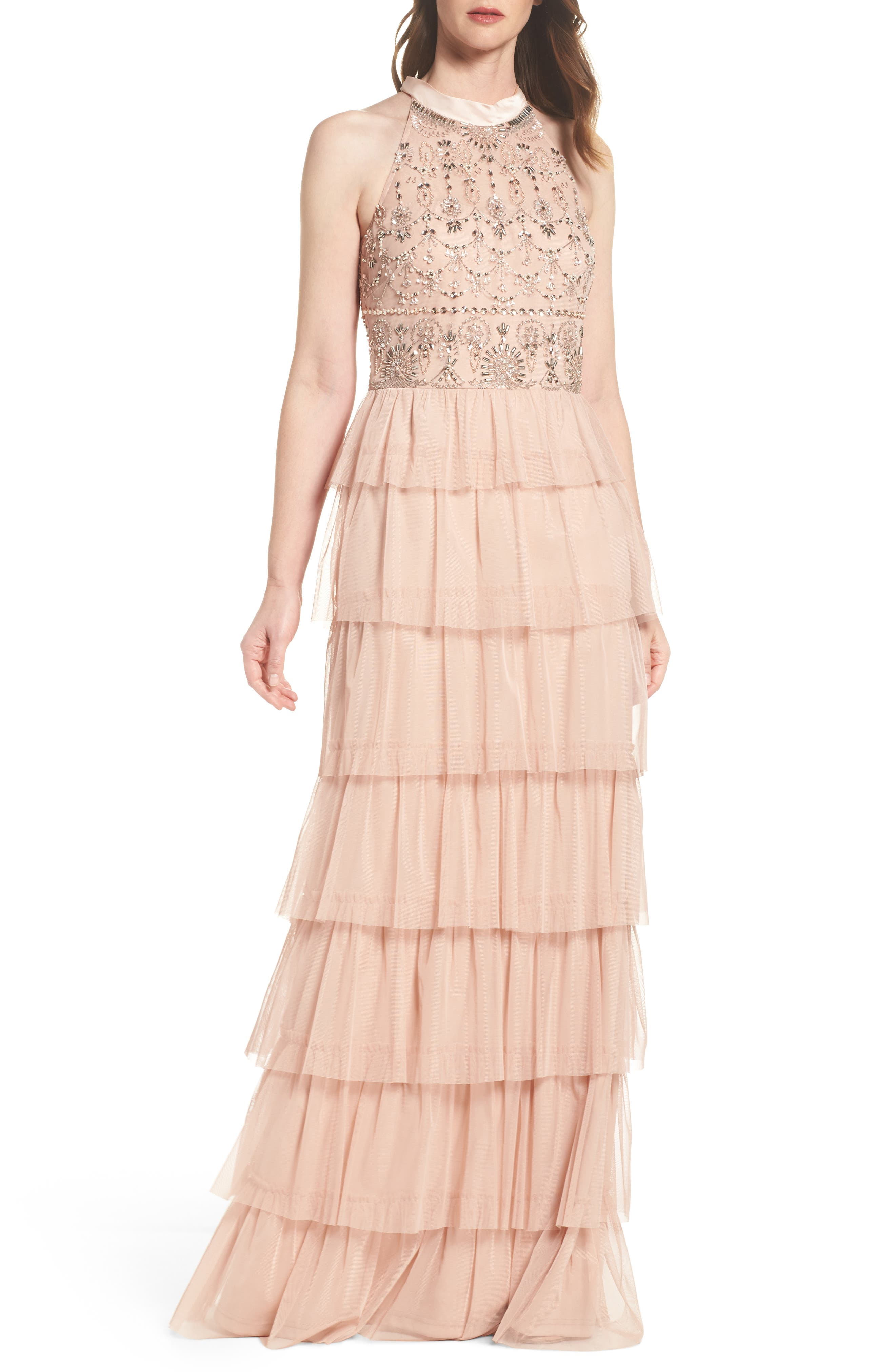 ADRIANNA PAPELL EMBELLISHED TIERED HALTER GOWN, BLUSH | ModeSens