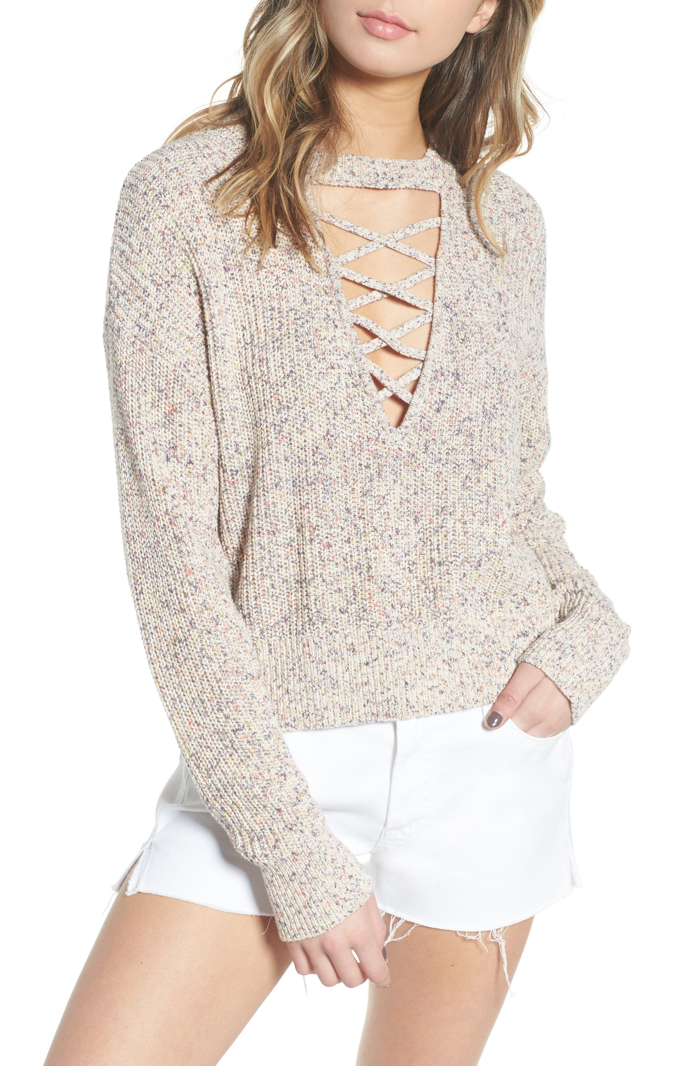Plunging Crisscross Sweater,                             Main thumbnail 1, color,                             Glow Multi