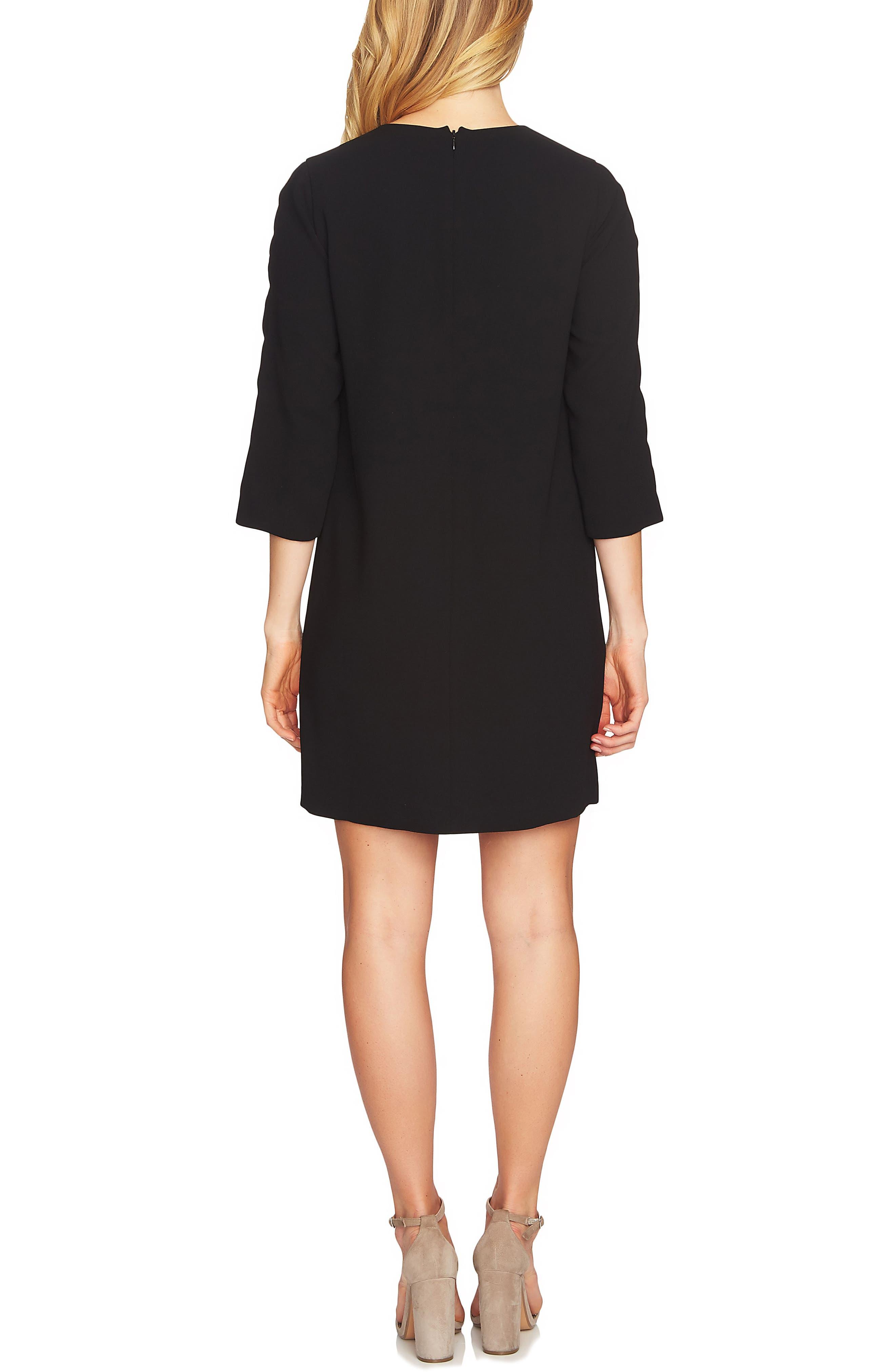 Cutout Sleeve Shift Dress,                             Alternate thumbnail 2, color,                             Rich Black