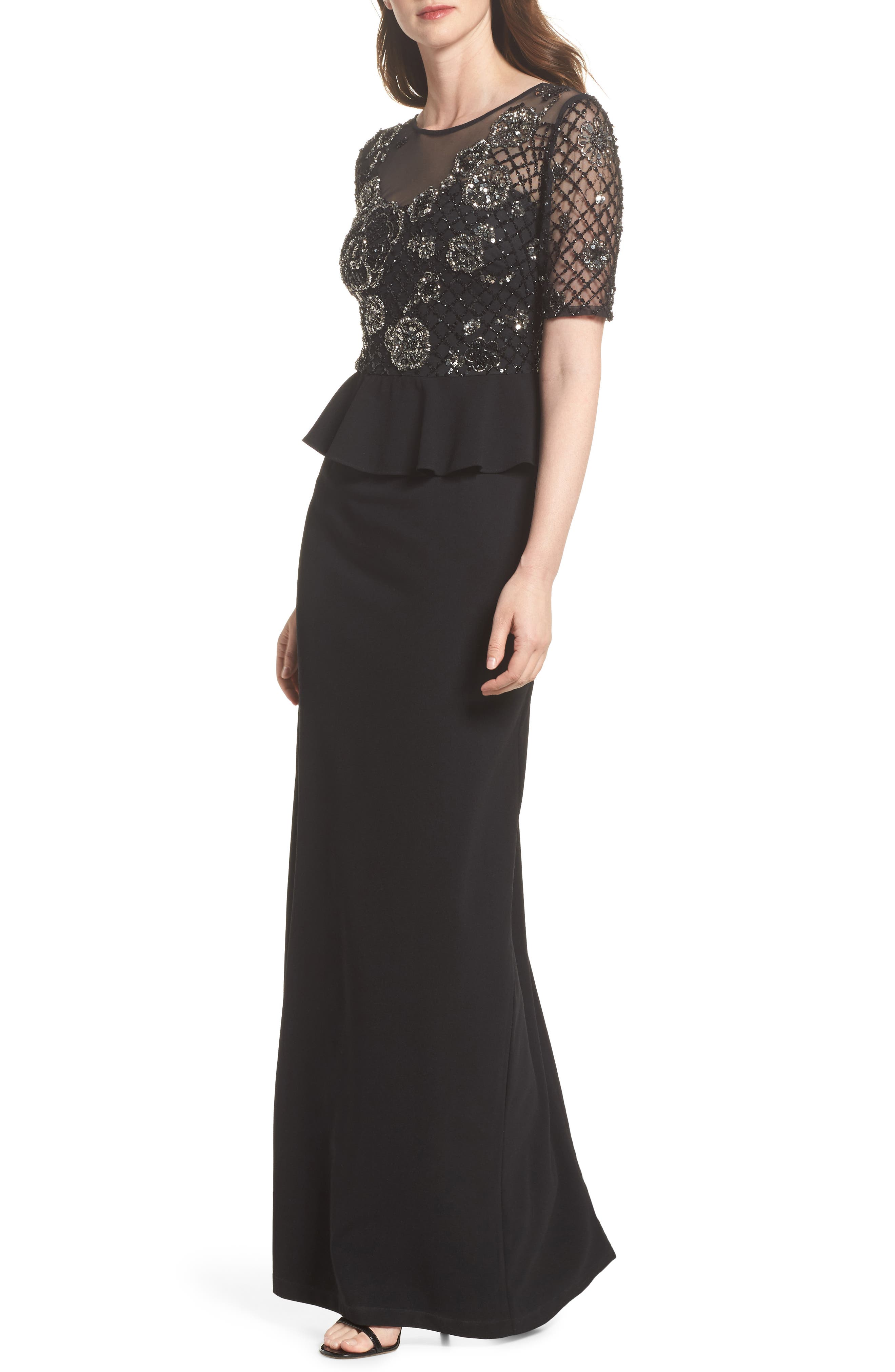 Sequin Peplum Waist Column Gown,                             Main thumbnail 1, color,                             Black/ Mercury