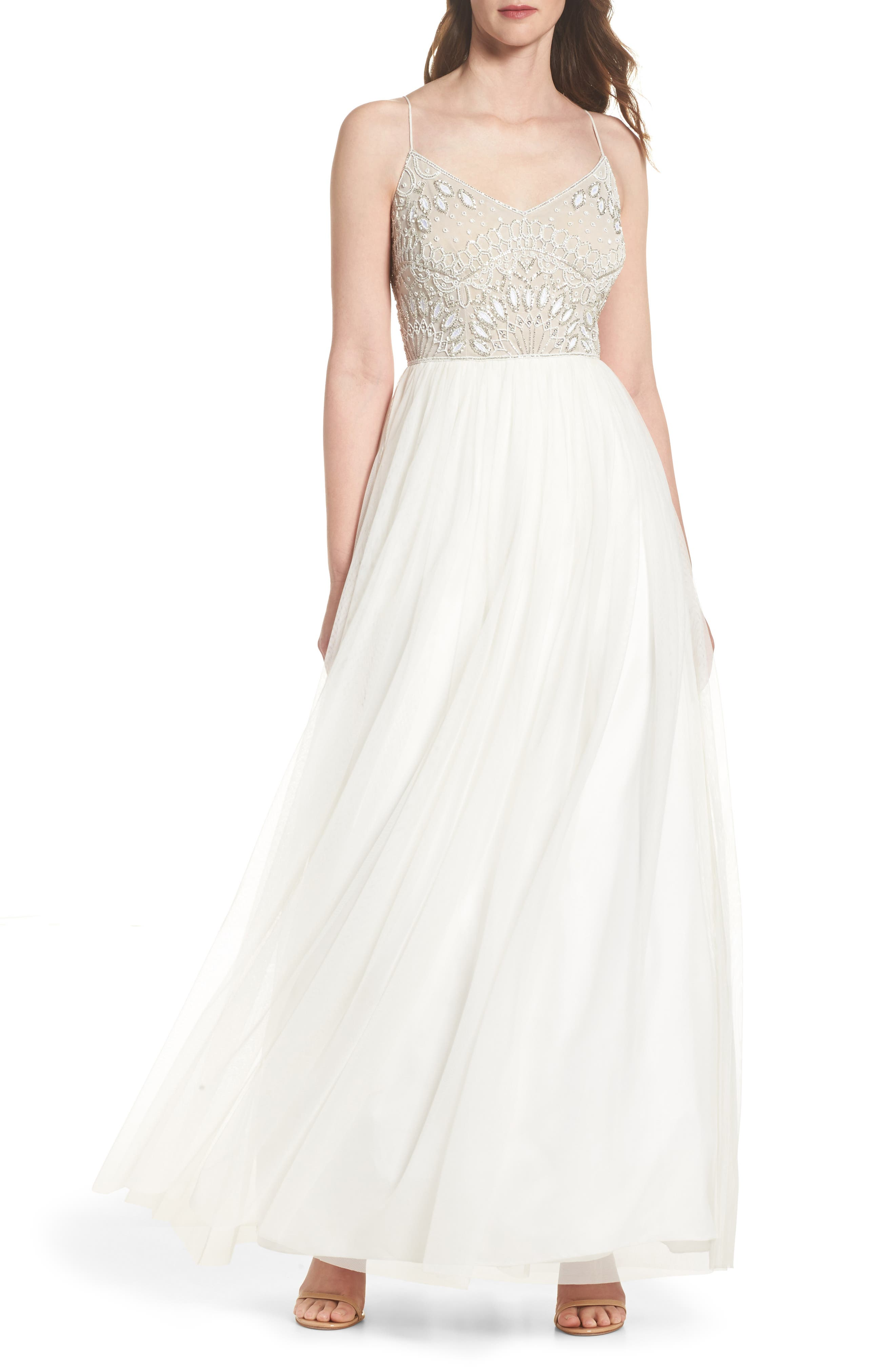 Beaded Bodice Mesh Fit & Flare Gown,                         Main,                         color, Ivory/ Nude