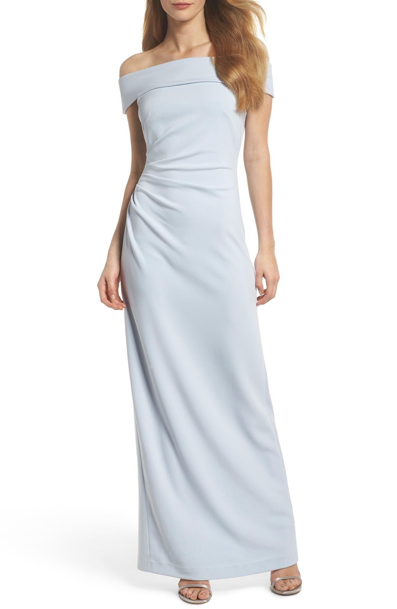 Off the Shoulder Gown,                             Main thumbnail 1, color,                             Light Blue