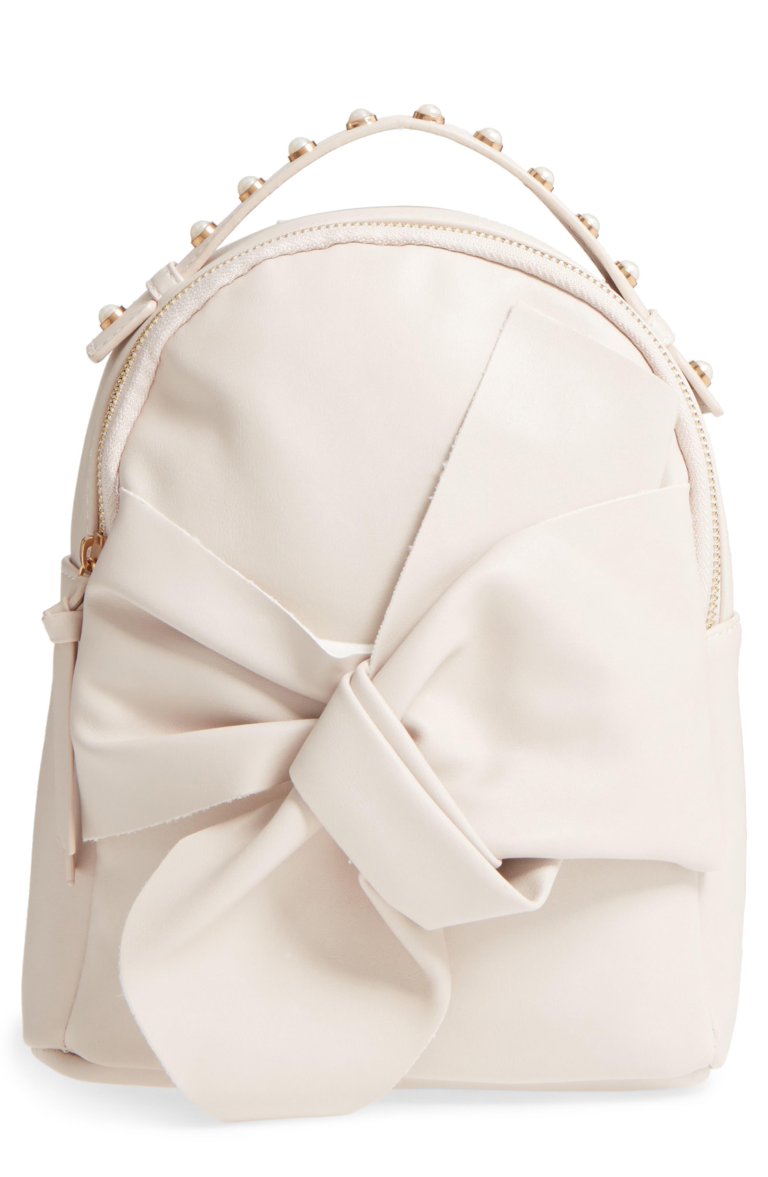 OMG Imitation Pearl Handle Bow Mini Backpack