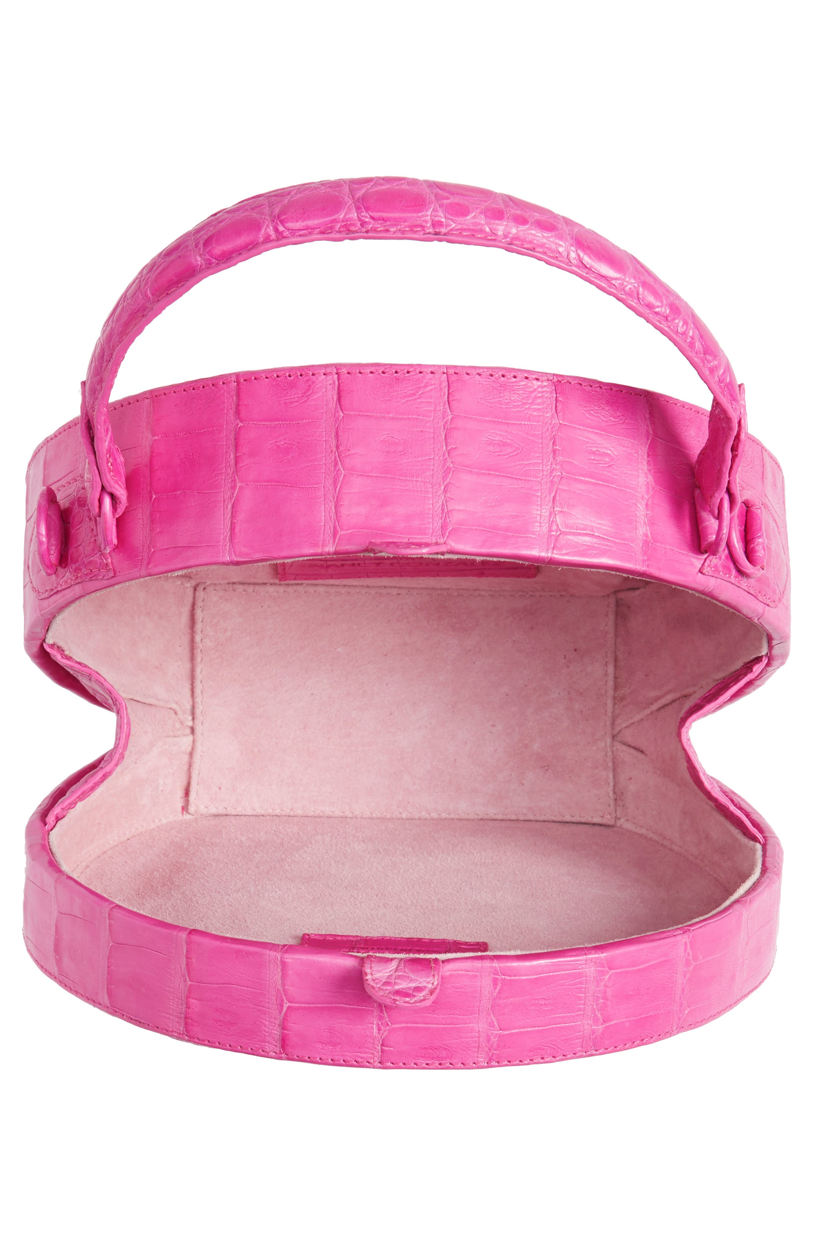 Genuine Crocodile Circle Bag,                             Alternate thumbnail 4, color,                             Pink