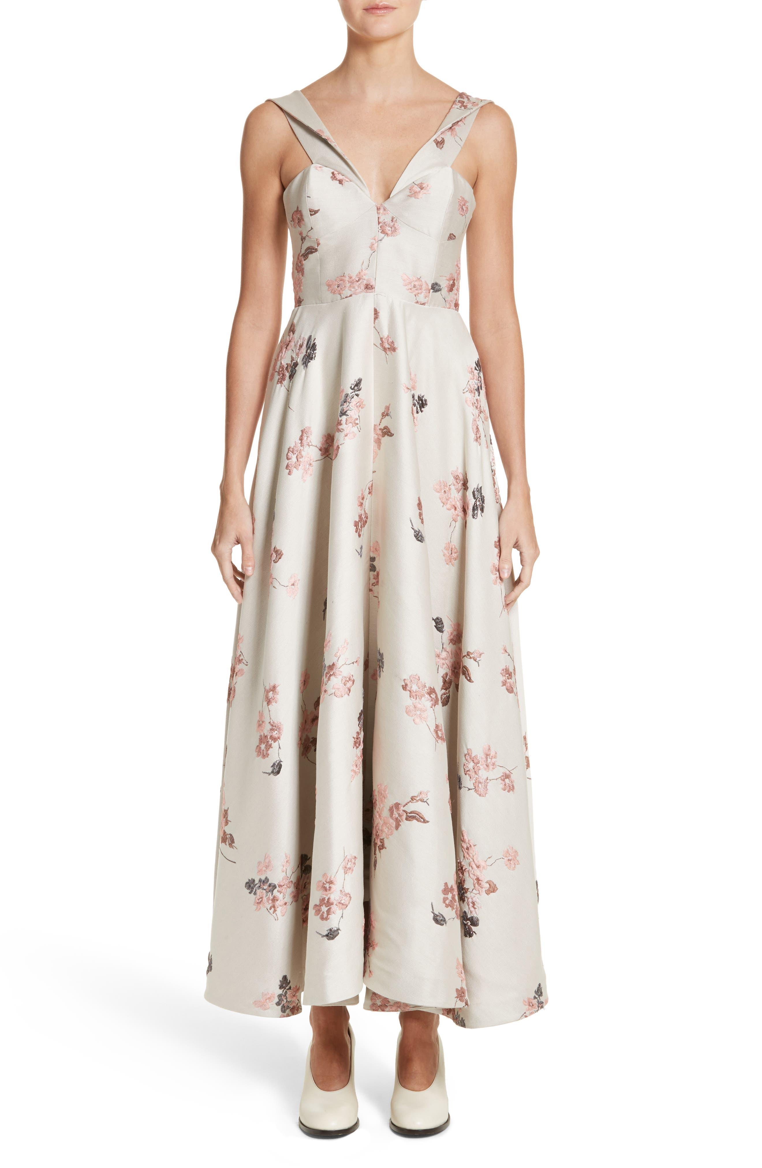 Co Metallic Floral Jacquard Dress