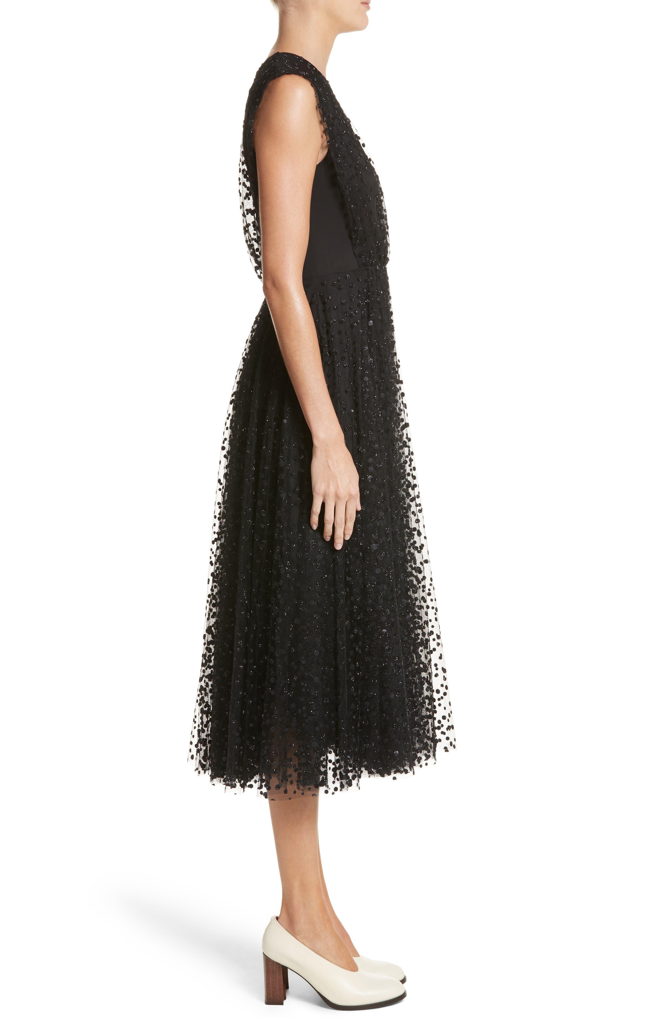 Sparkle Dot Tulle Midi Dress,                             Alternate thumbnail 3, color,                             Black