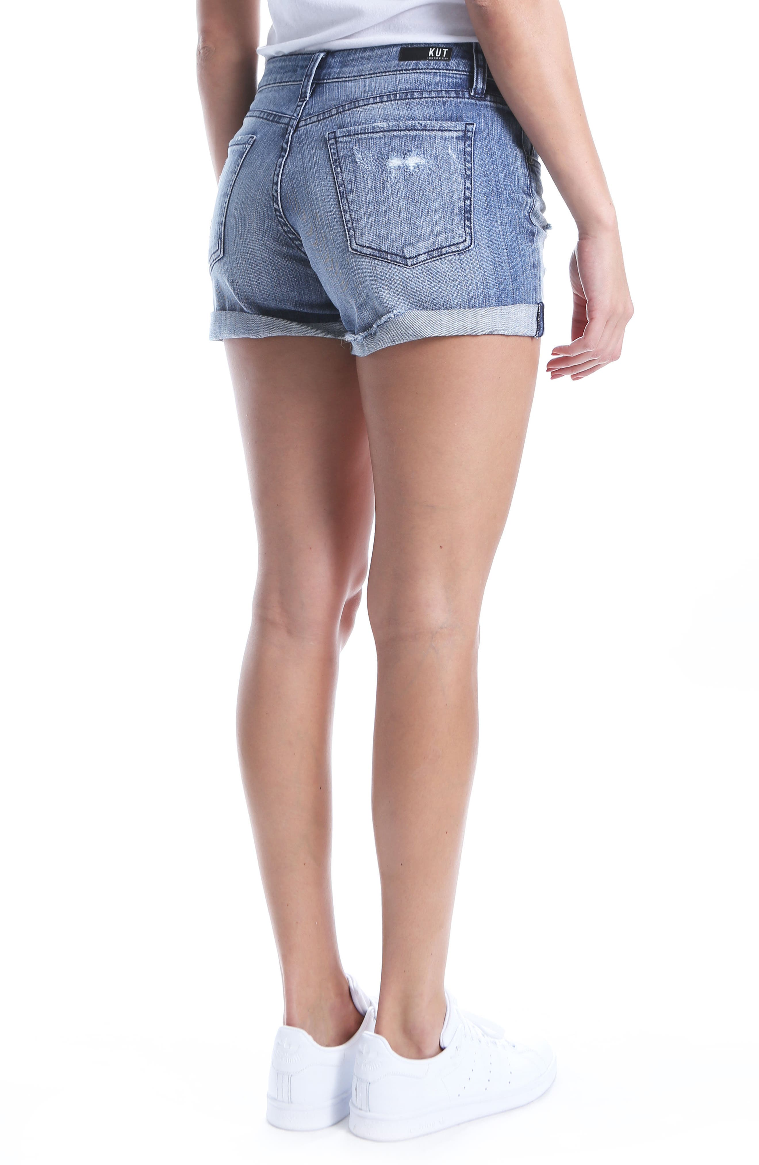 KUT Kollection Madeline Ripped Denim Shorts,                             Alternate thumbnail 2, color,                             Instructed