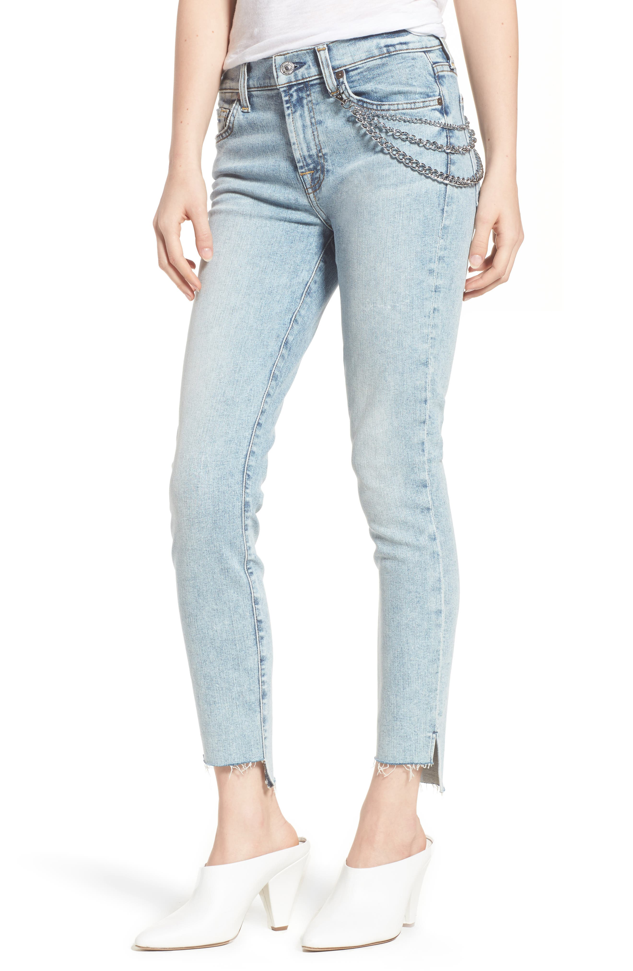 Step Hem Ankle Skinny Jeans,                         Main,                         color, Desert Springs