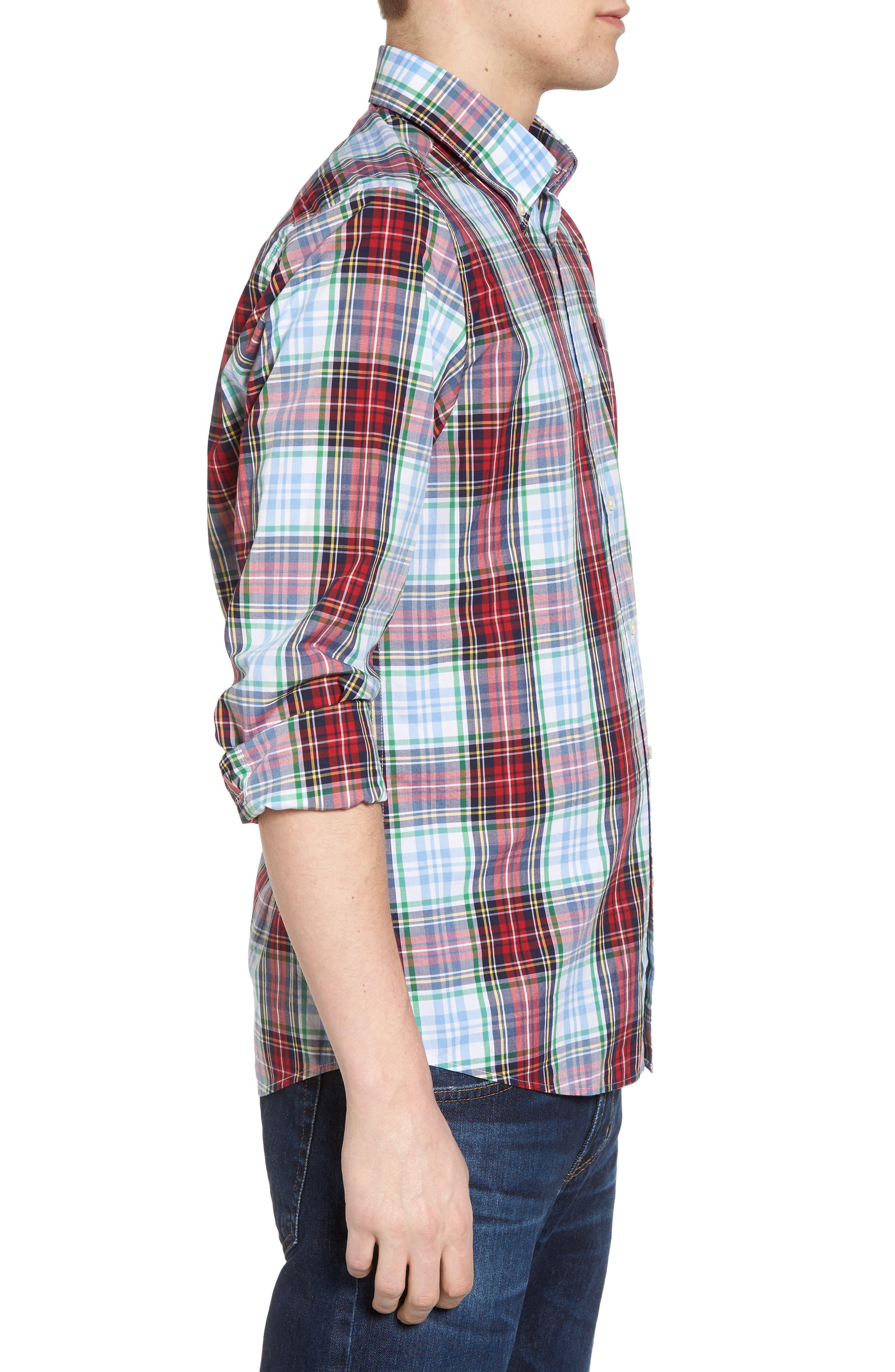 Jeff Trim Fit Plaid Sport Shirt,                             Alternate thumbnail 3, color,                             Red