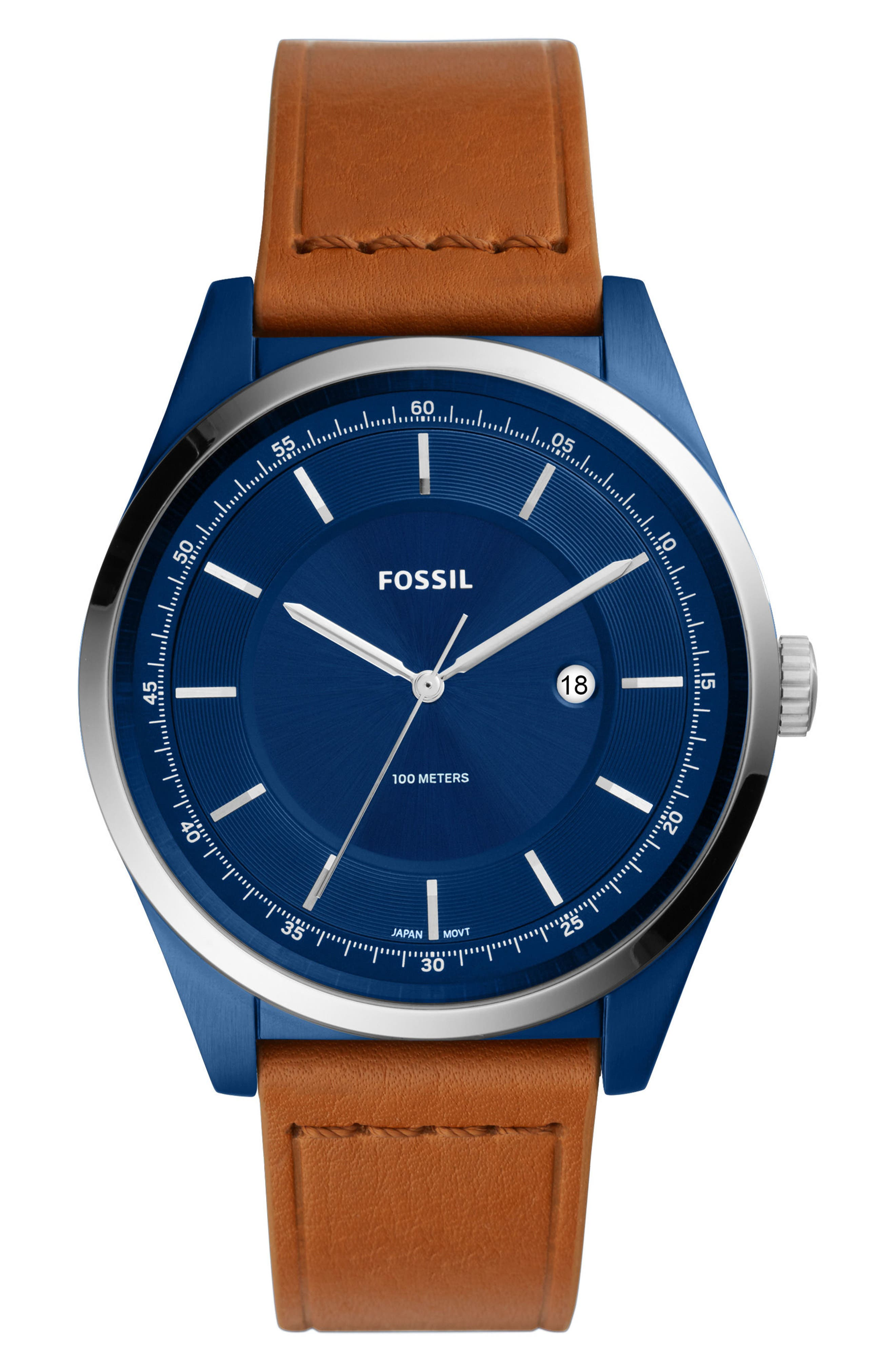 Mathis Leather Strap Watch, 44mm,                             Main thumbnail 1, color,                             Brown/ Blue