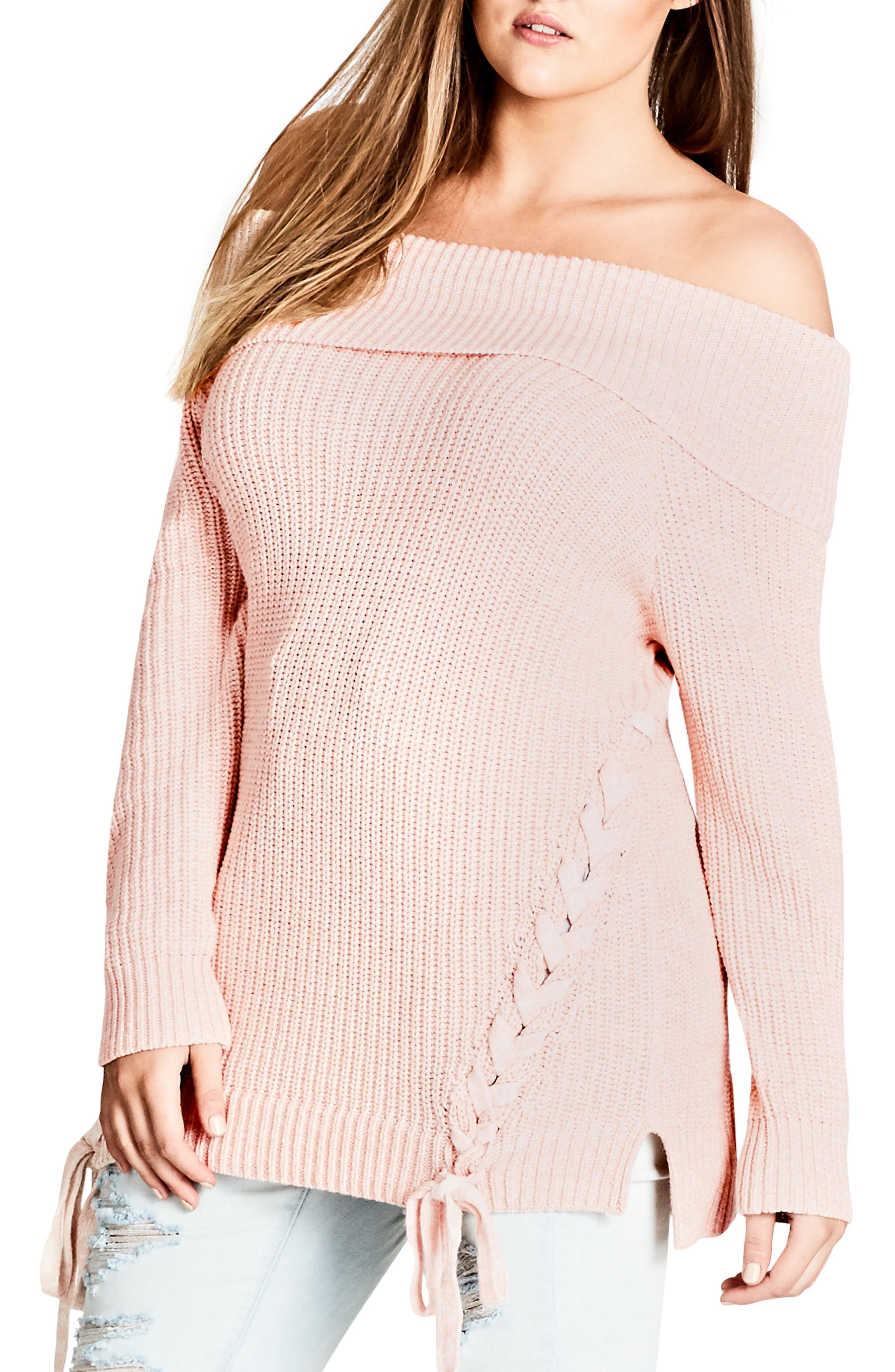 Alternate Image 1 Selected - City Chic Intertwine Convertible Lace-Up Pullover (Plus Size)