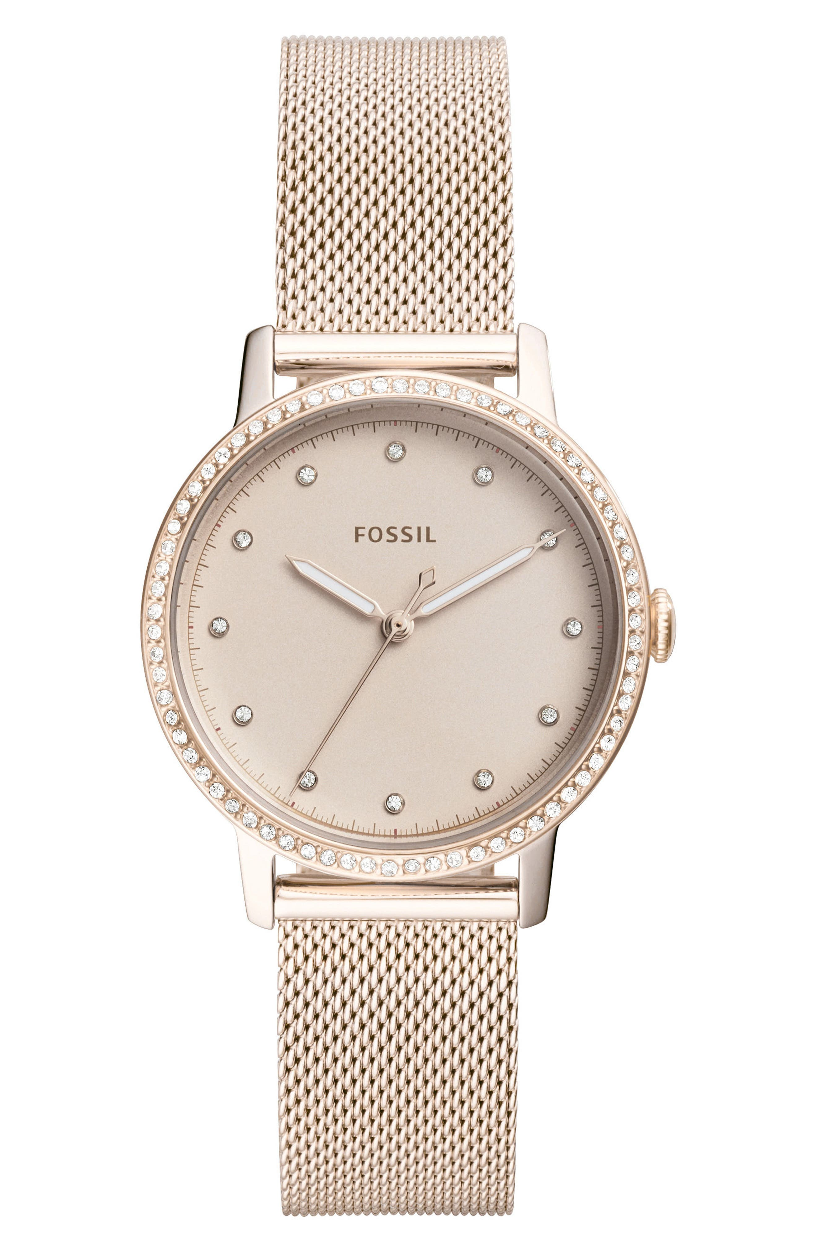 Neely Crystal Mesh Strap Watch, 34mm,                             Main thumbnail 1, color,                             Pink