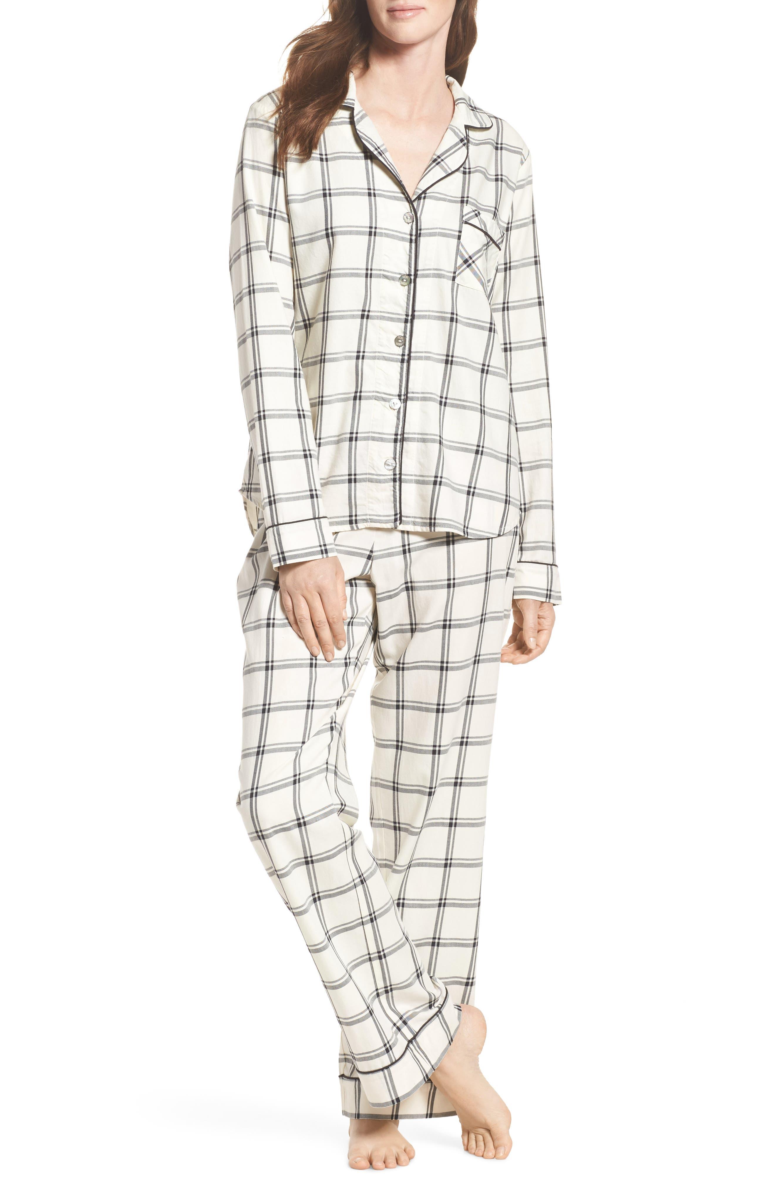 Raven Plaid Pajamas,                             Main thumbnail 1, color,                             Cream/ Black