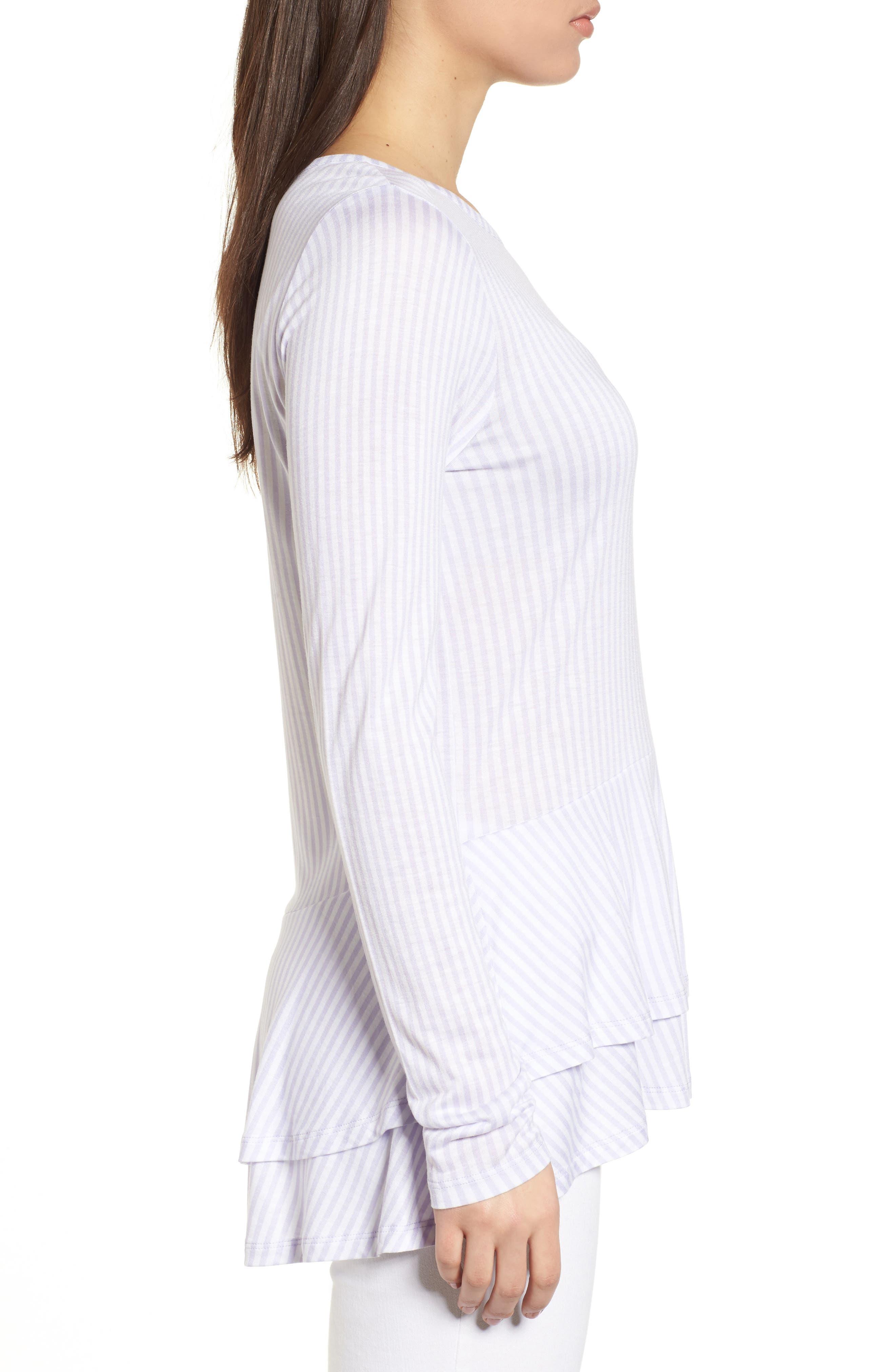Alternate Image 3  - MICHAEL Michael Kors Stripe Layered Hem Top