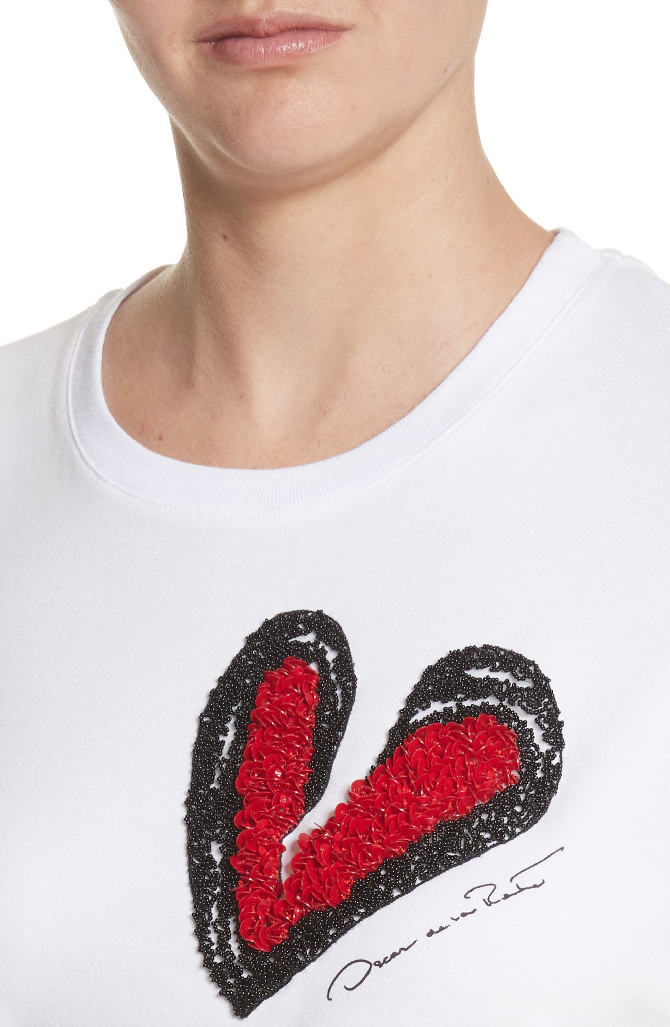 Heartbreaker Embellished Tee,                             Alternate thumbnail 9, color,                             White W/ Red