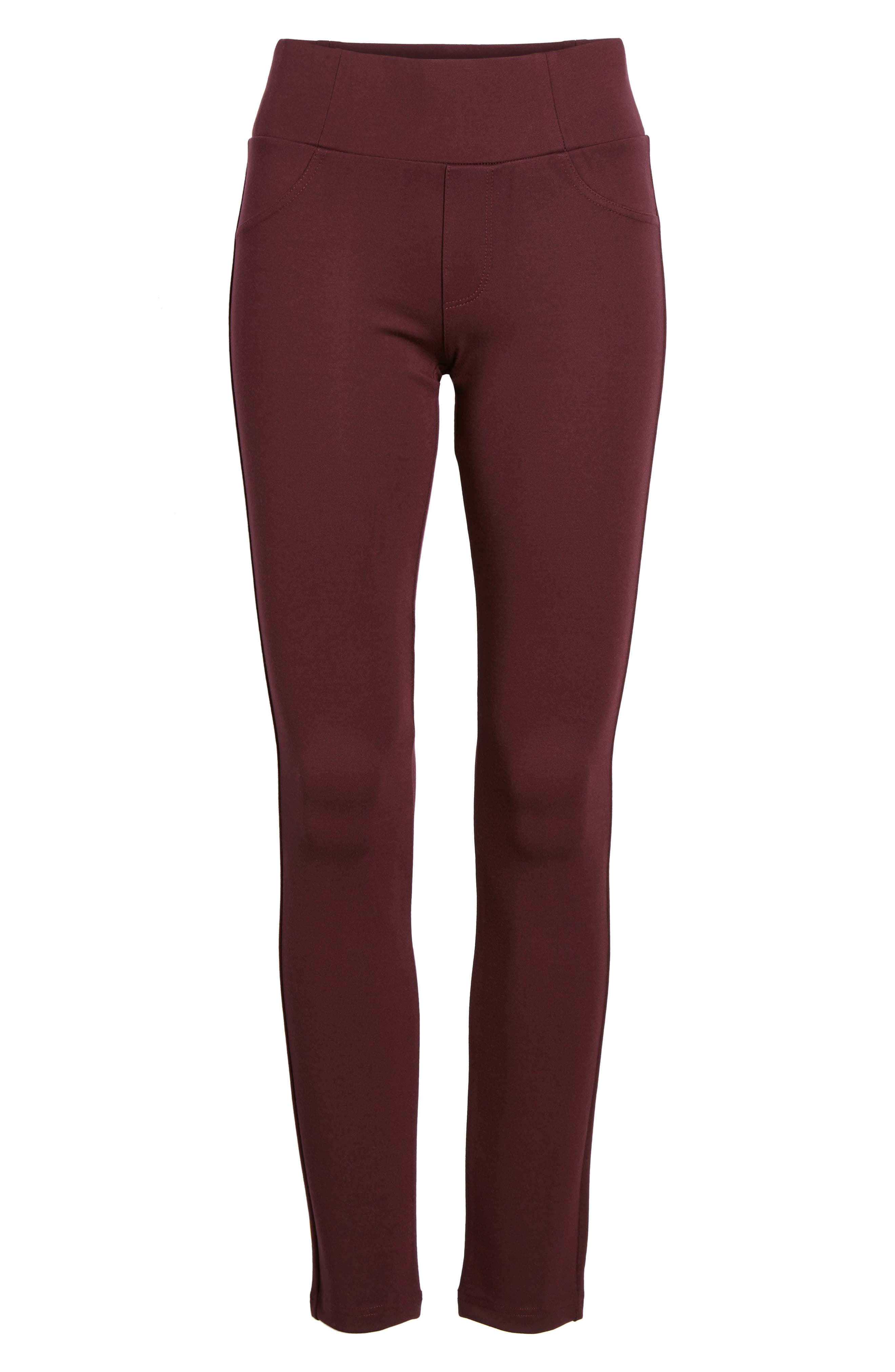High Waist Ponte Pants,                             Alternate thumbnail 6, color,                             Wine
