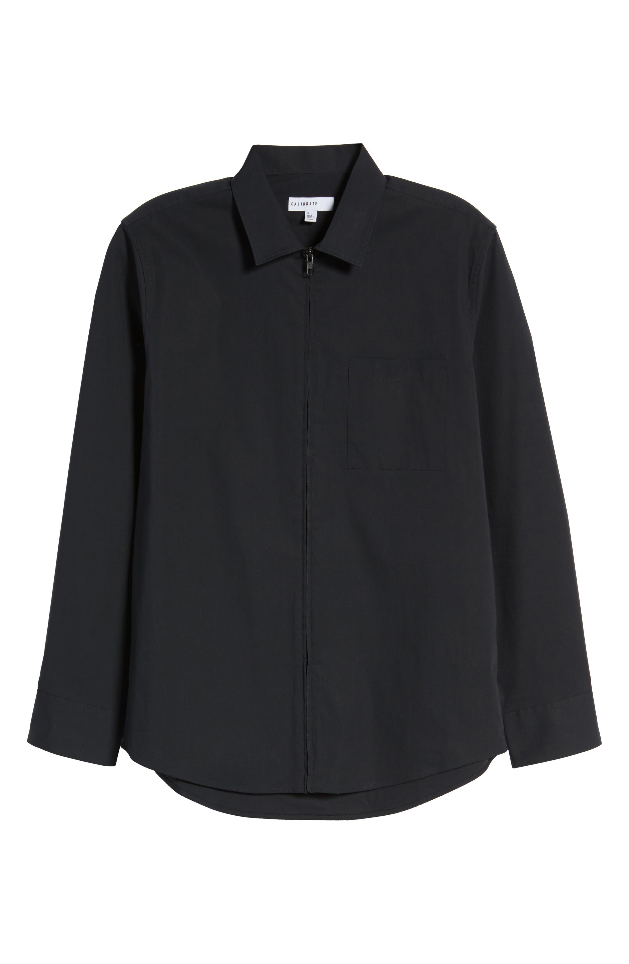 Zip Shirt Jacket,                             Alternate thumbnail 6, color,                             Black